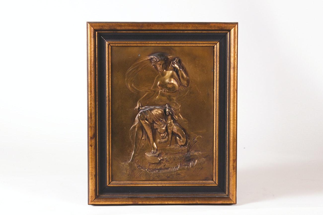 Vintage Framed Embossed Bronze Scene of Artemis