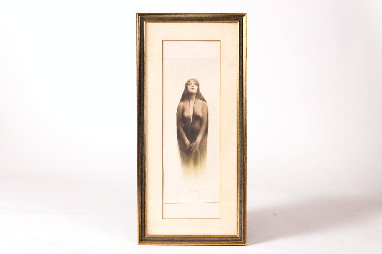 "Antique Framed ""Kaloma"" Photogravure"