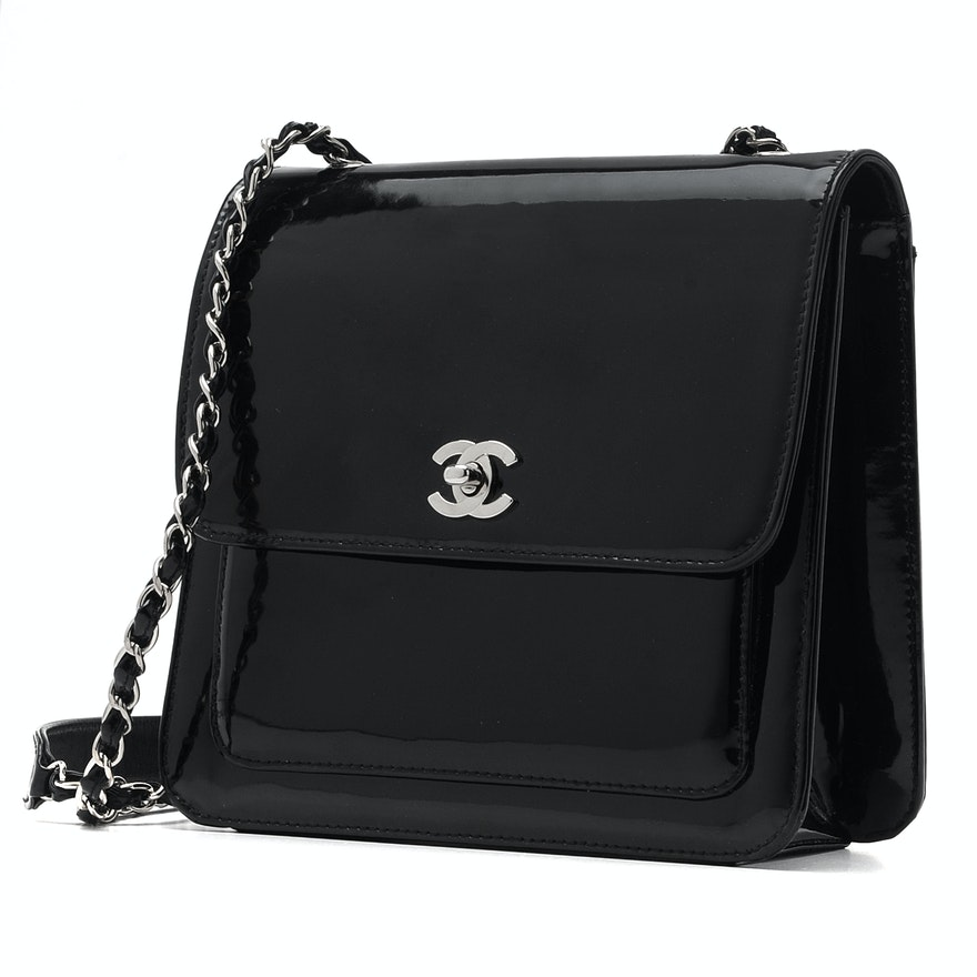 9a31932c7dfb Chanel Black Patent Leather Handbag with Silver Chain and Dust Bag   EBTH