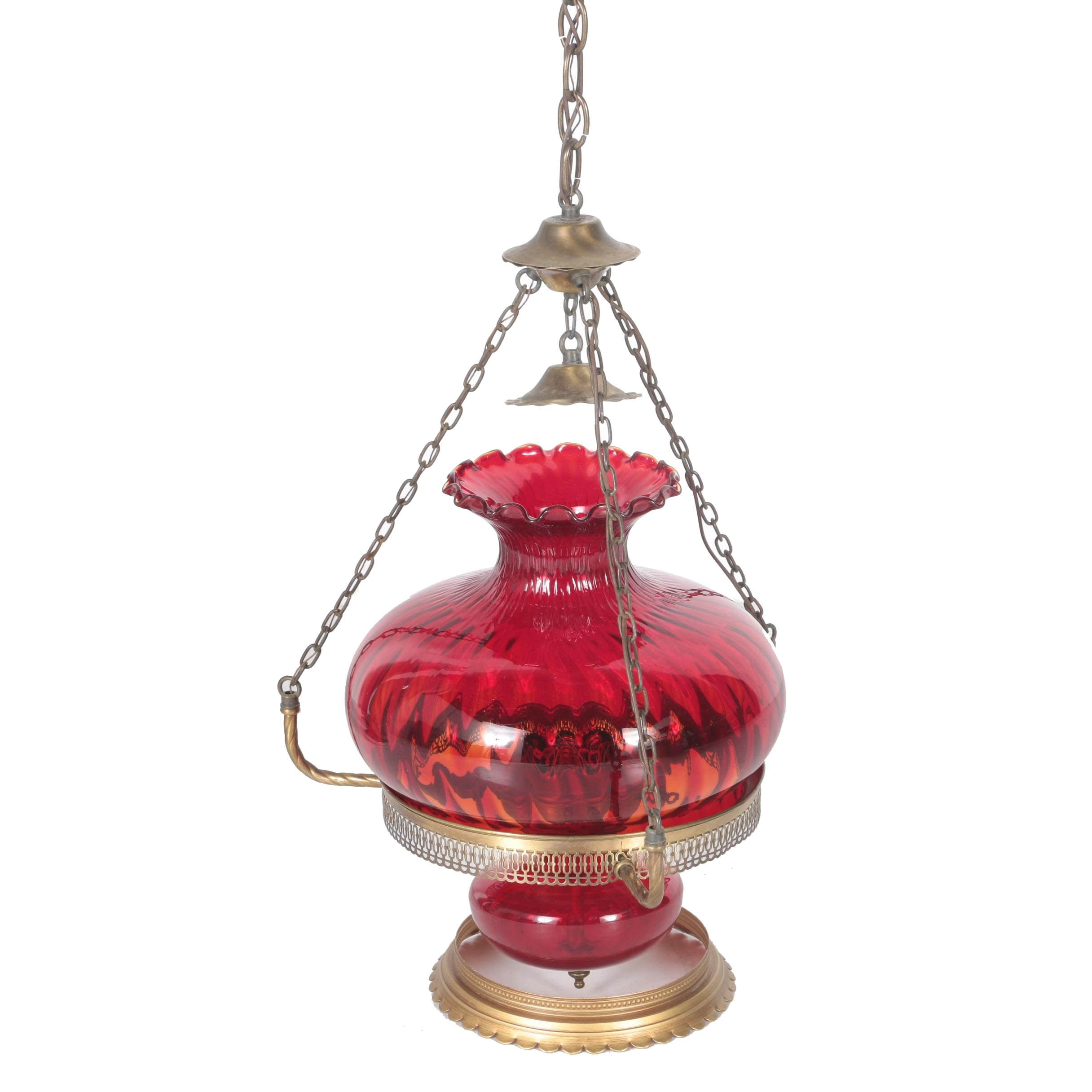 Vintage Oil Lamp Style Pendant Light with Ruby Glass Shade