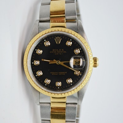 Rolex Oyster Perpetual Date 18K Yellow Gold Wristwatch