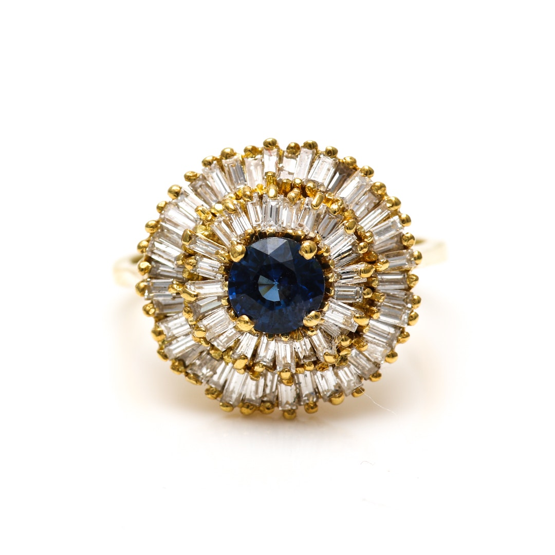 18K Yellow Gold Blue Sapphire and 1.52 CTW Diamond Ring