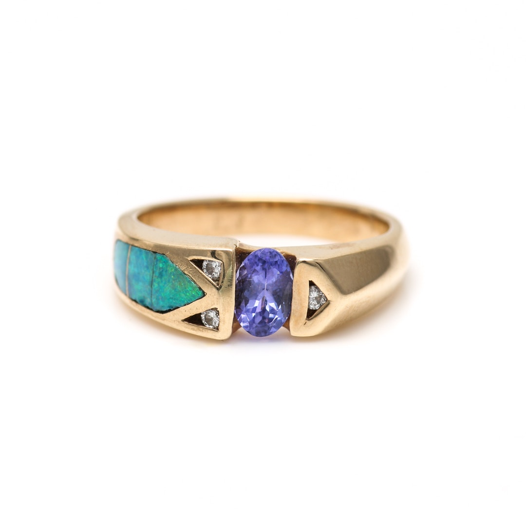 14K Yellow Gold Tanzanite, Opal Doublet and Diamond Ring