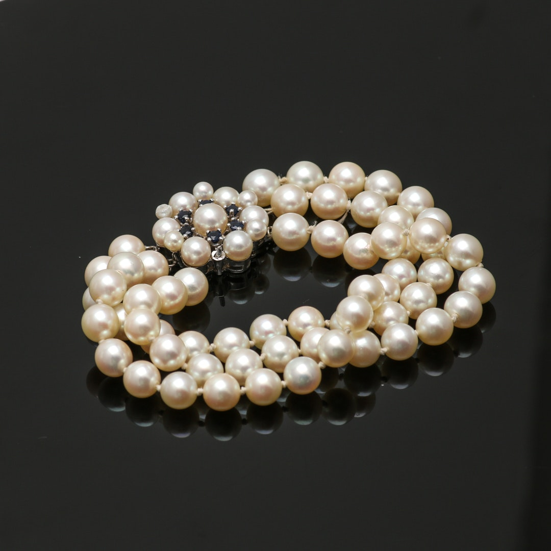 14K White Gold Cultured Pearl and Sapphire Bracelet