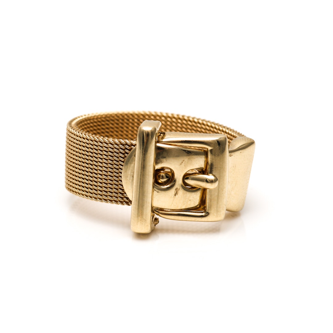 14K Yellow Gold Buckle Ring