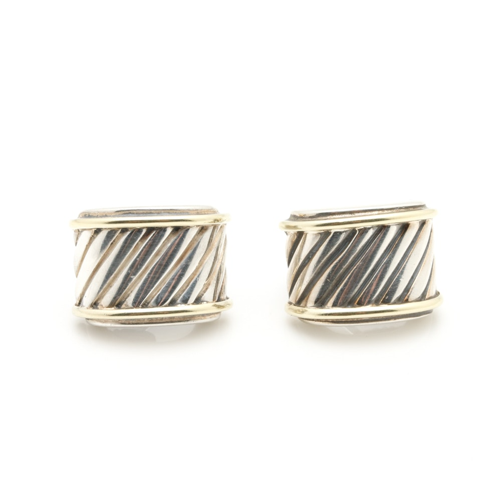 David Yurman Sterling Silver and 14K Yellow Gold Earrings