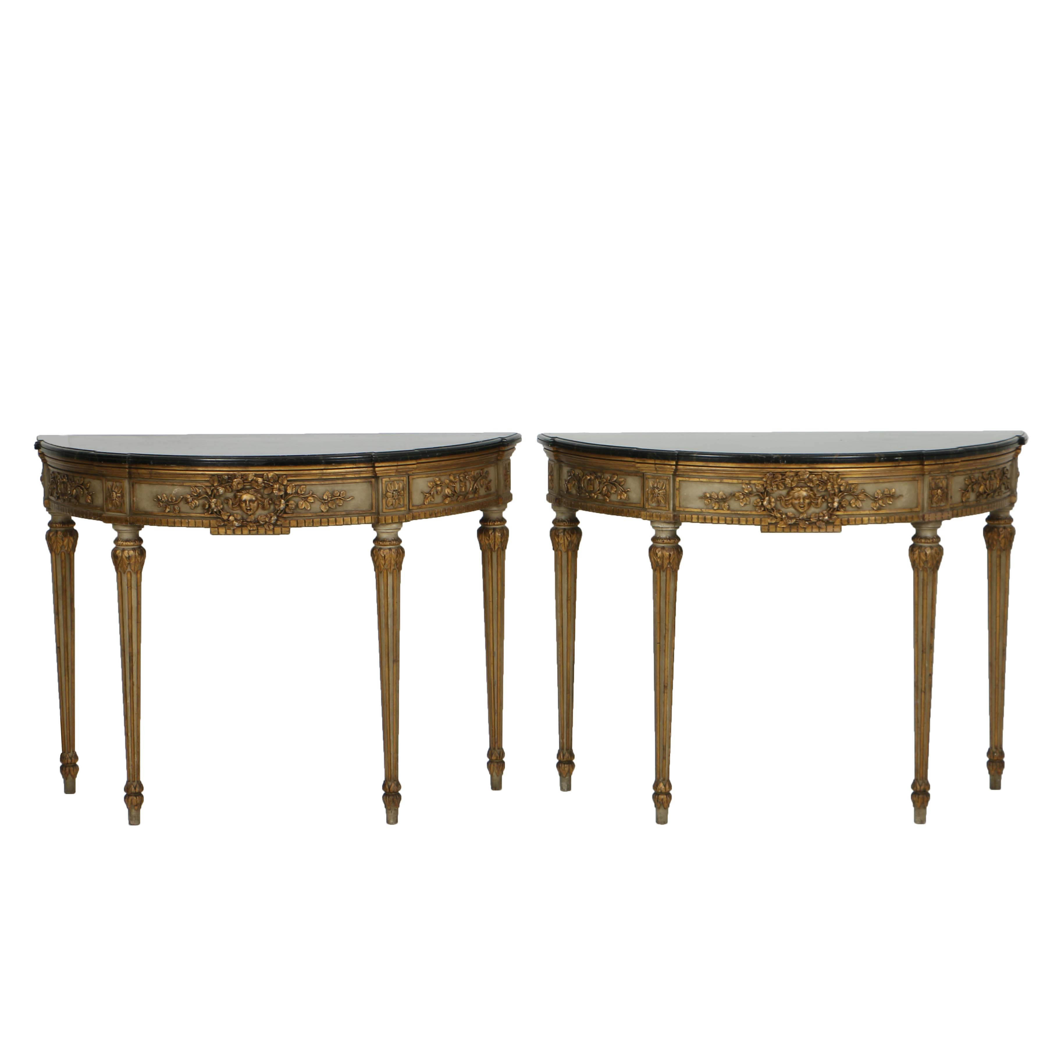 Vintage Neoclassical Style Parcel-Gilt Console Tables with Faux-Marble Tops