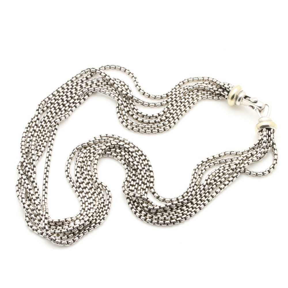 David Yurman Sterling Silver and 14K Yellow Gold Multi-Chain Necklace