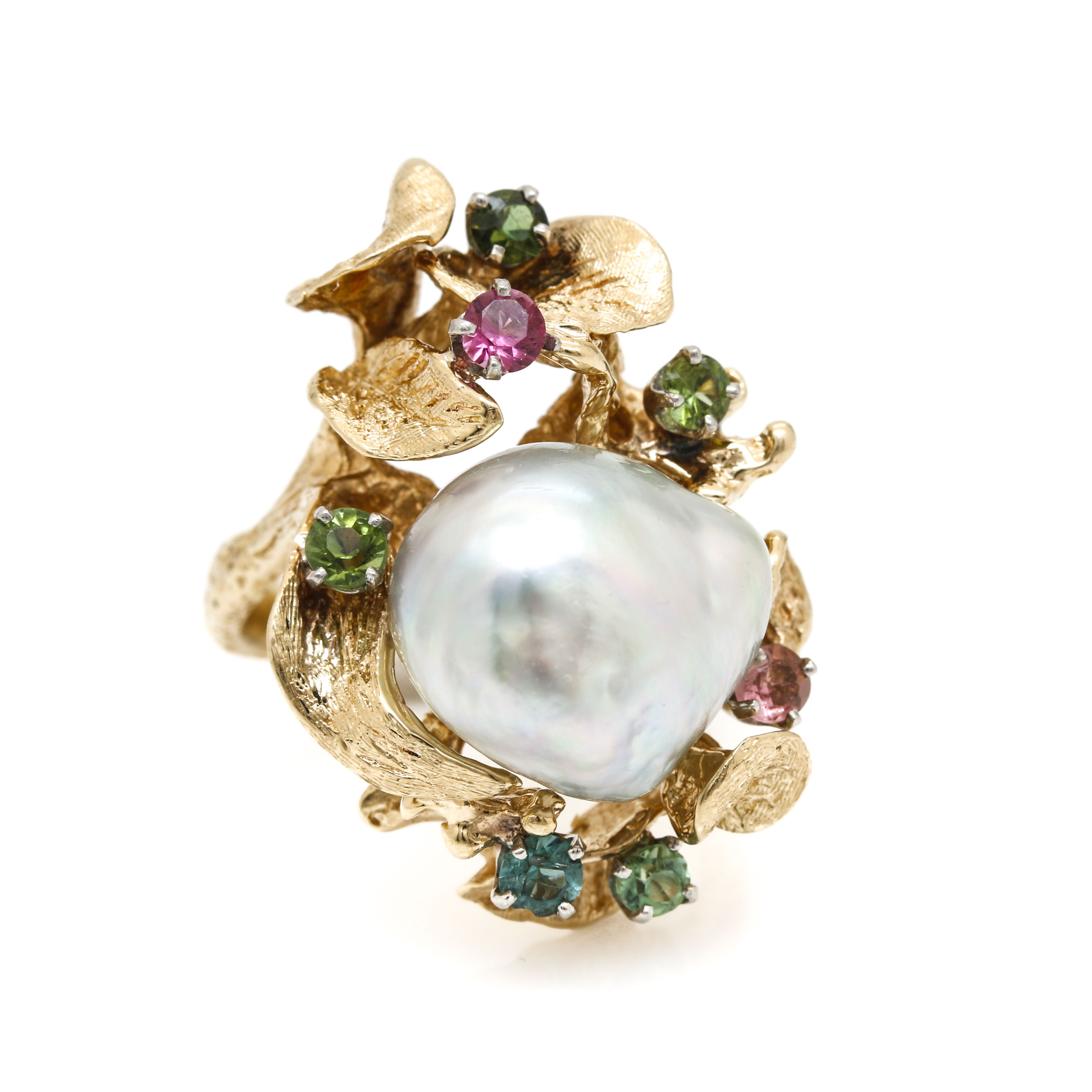 14K Yellow Gold Cultured Pearl and Tourmaline Ring