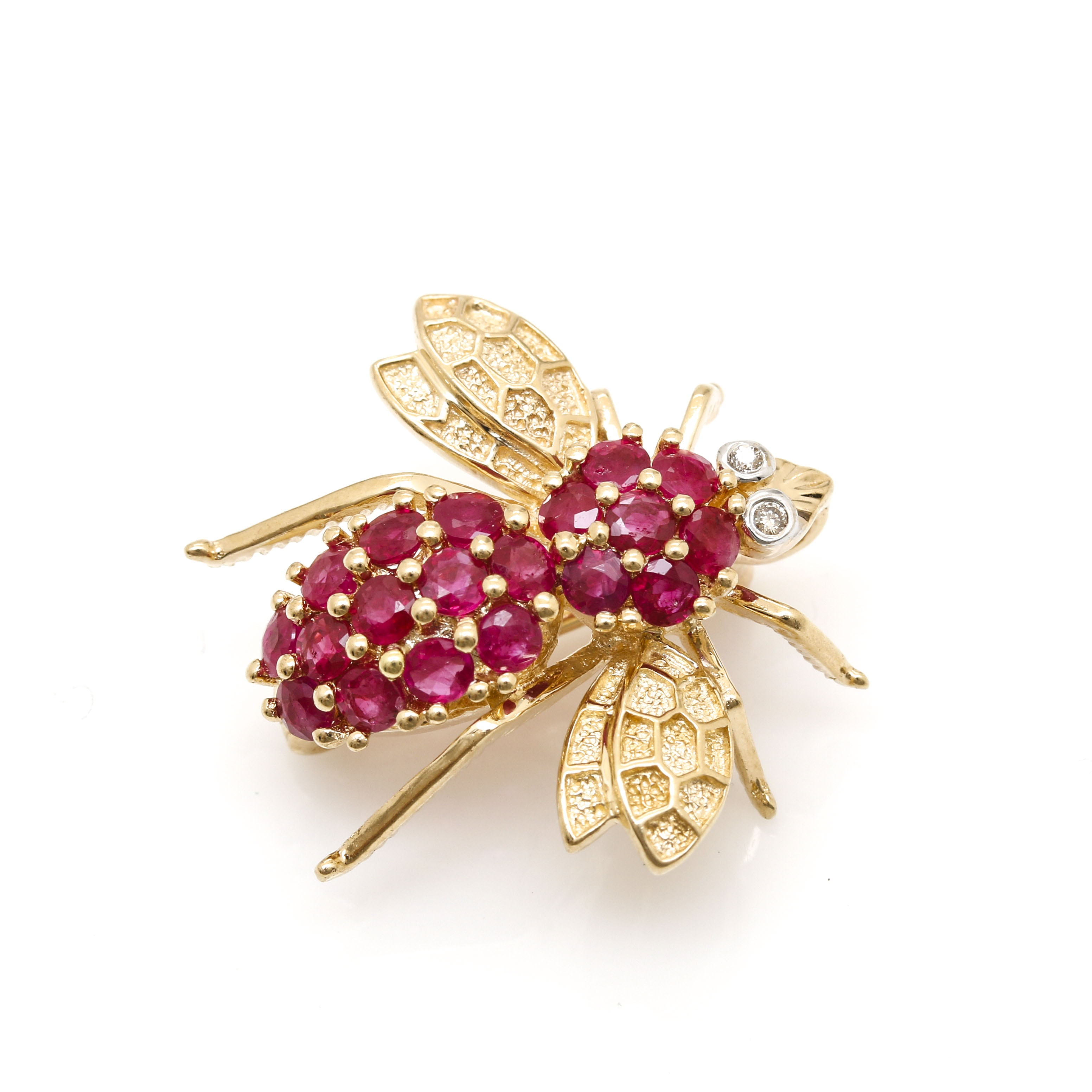 14K Yellow Gold Ruby and Diamond Bee Converter Brooch