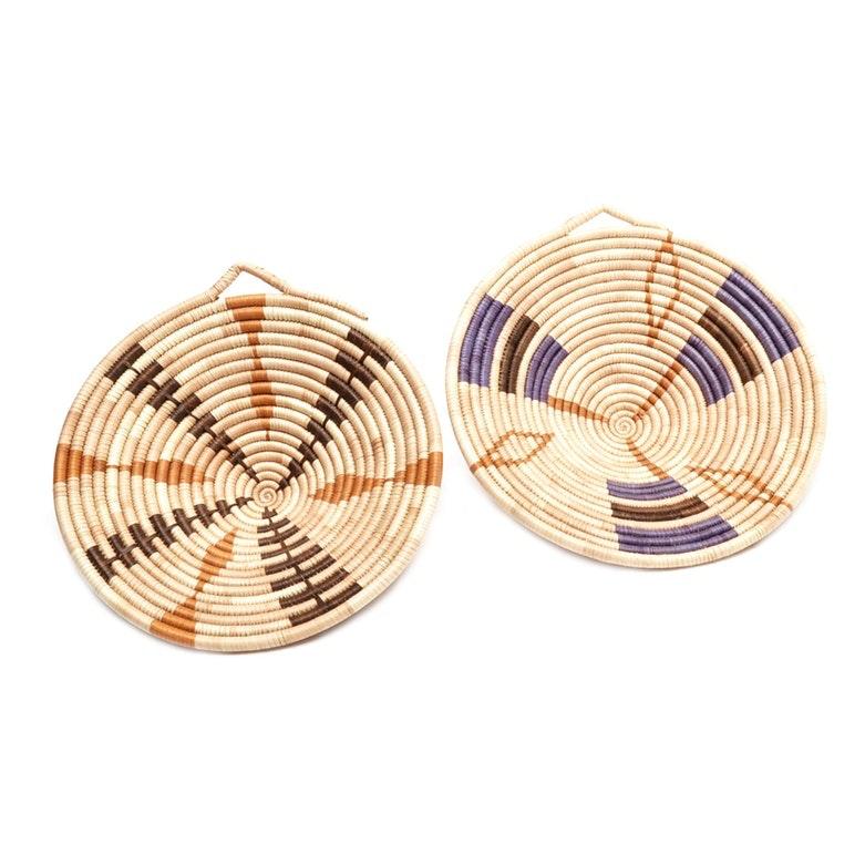Two Handwoven Zulu Isiquabetho Baskets