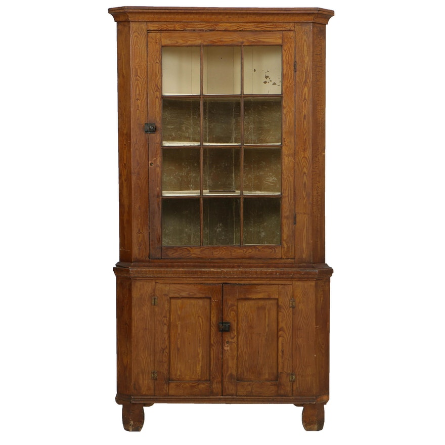 492f3ccb5701 Antique Pennsylvania Grain-Painted Corner Cupboard