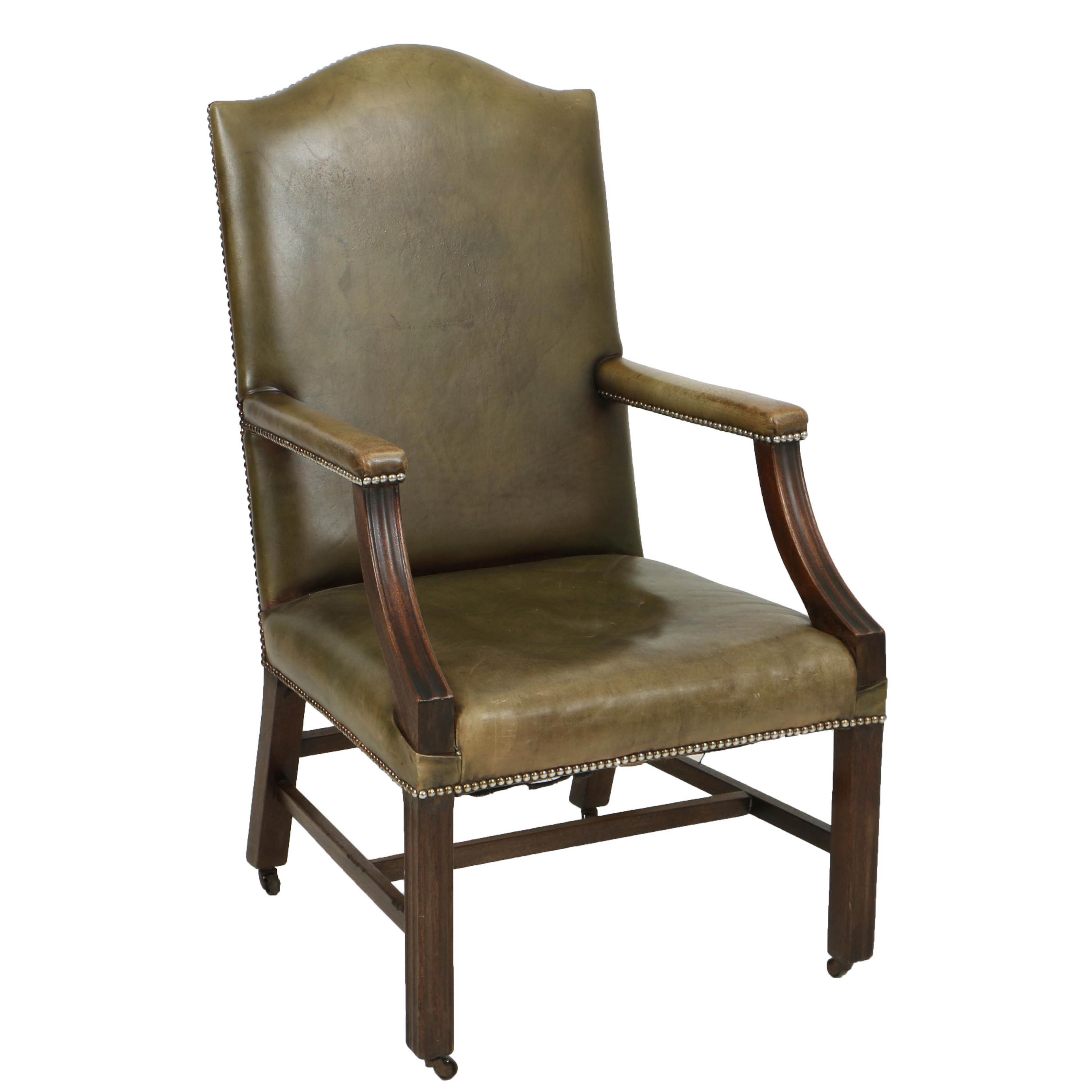 Vintage George III Style Library Armchair, Circa First Half 20th Century