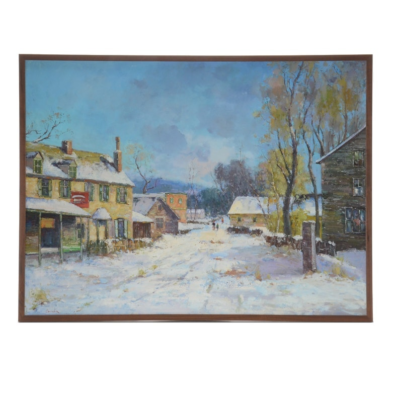 Signed Original Oil Painting on Canvas of Winter Street Scene
