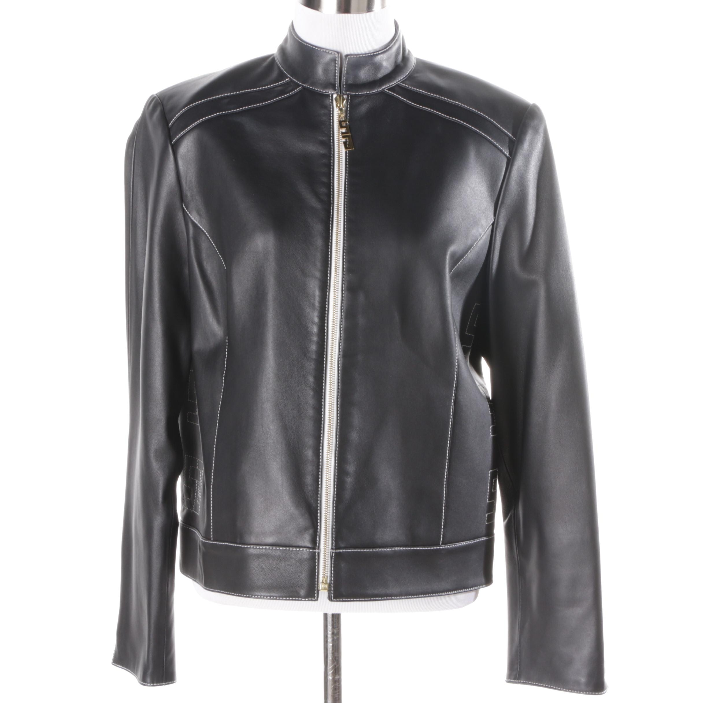 Women's St. John Sport Black Leather Jacket