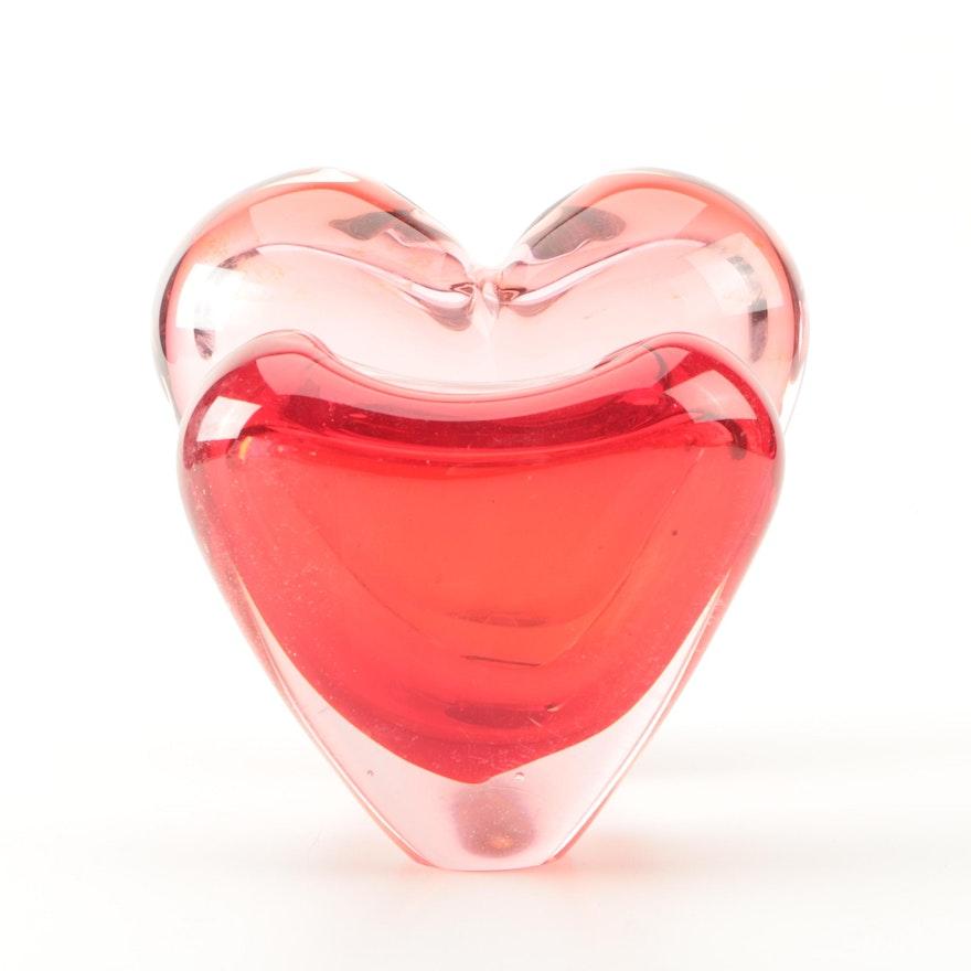 Javoslar Svoboda Blown Art Glass Heart Vase And Other Red Heart Vase