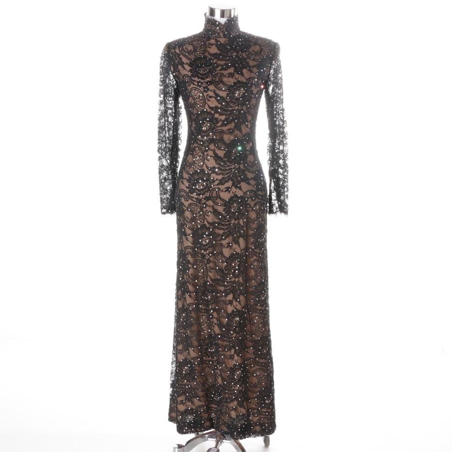Bob Mackie Designer Embellished Black Lace Gown : EBTH