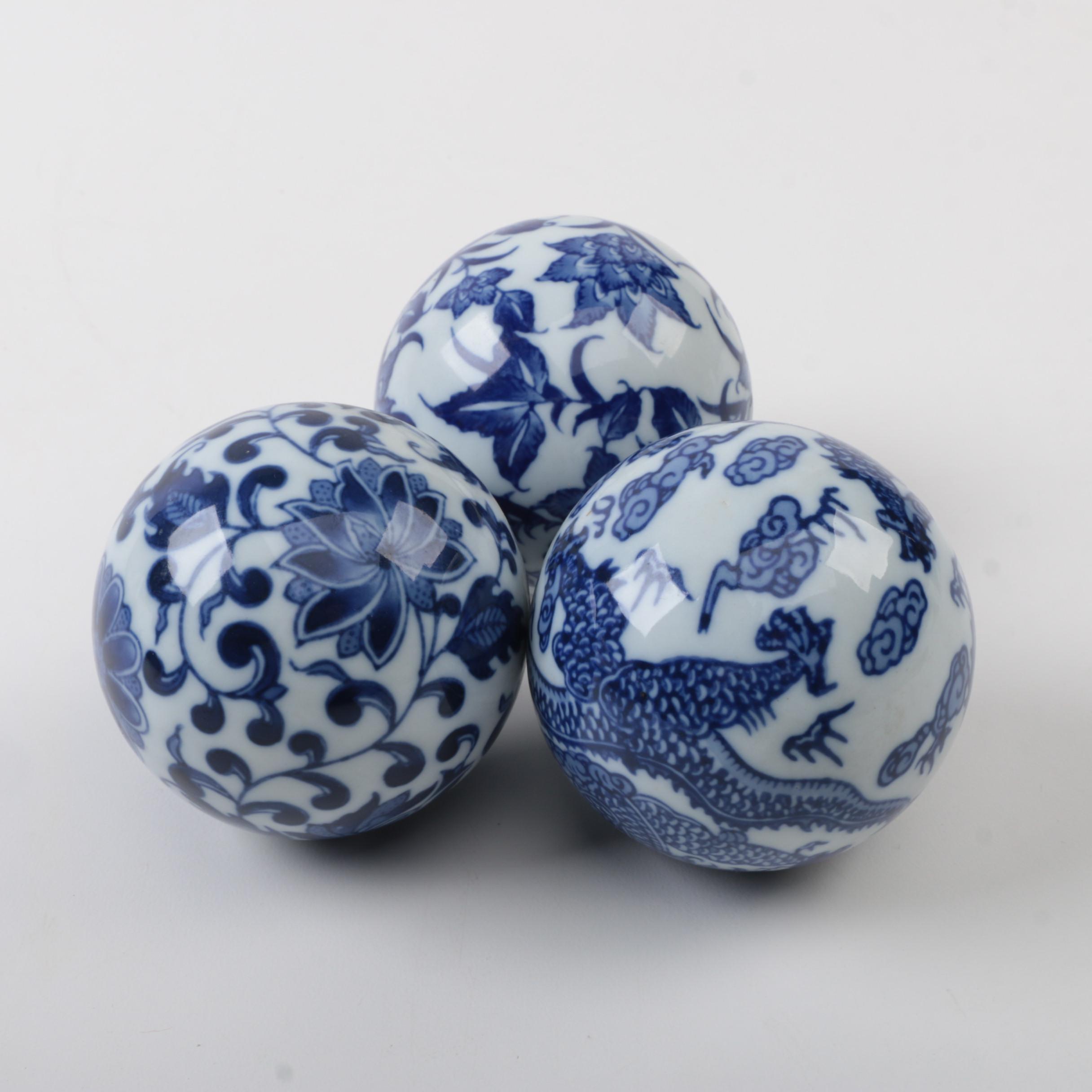 Cobalt And White Ceramic Decorative Balls Ebth