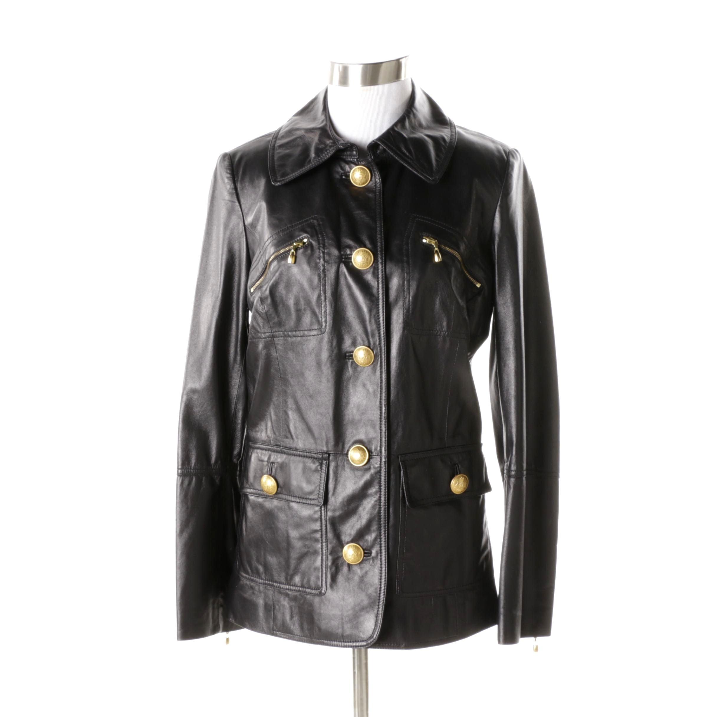 Women's St. John Black Lambskin Leather Jacket