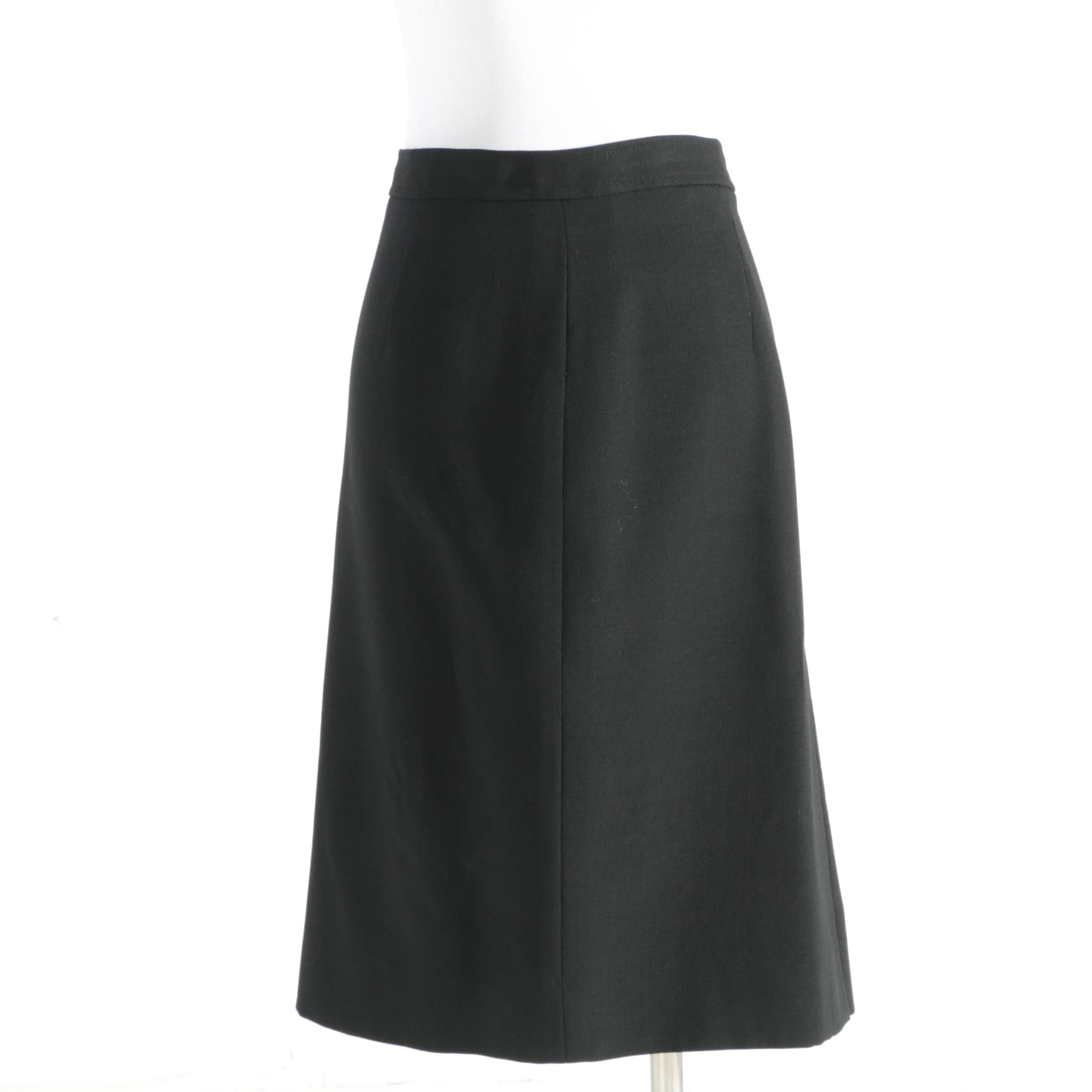 Valentino Miss V Black Wool Skirt