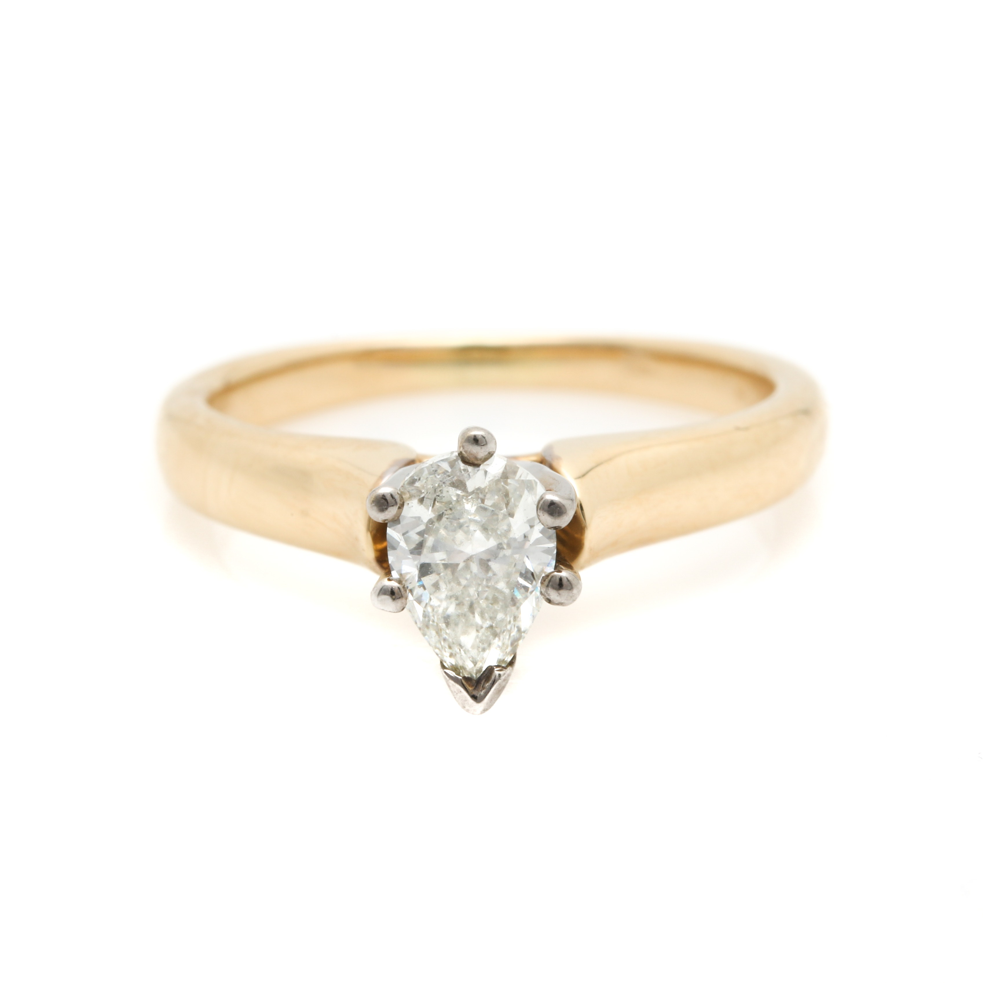 14K White and Yellow Gold Solitaire Diamond Ring
