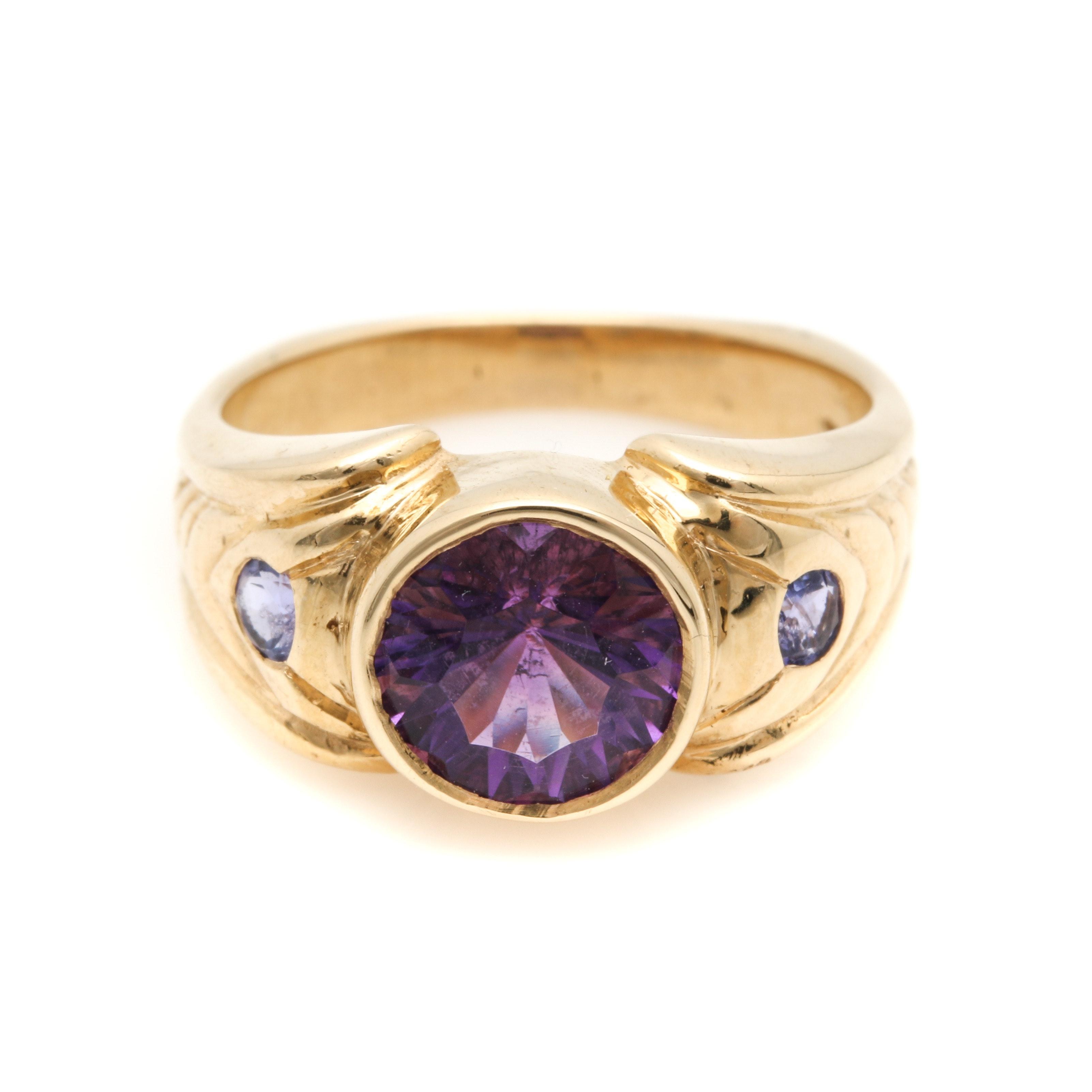 14K Yellow Gold Amethyst and Tanzanite Ring