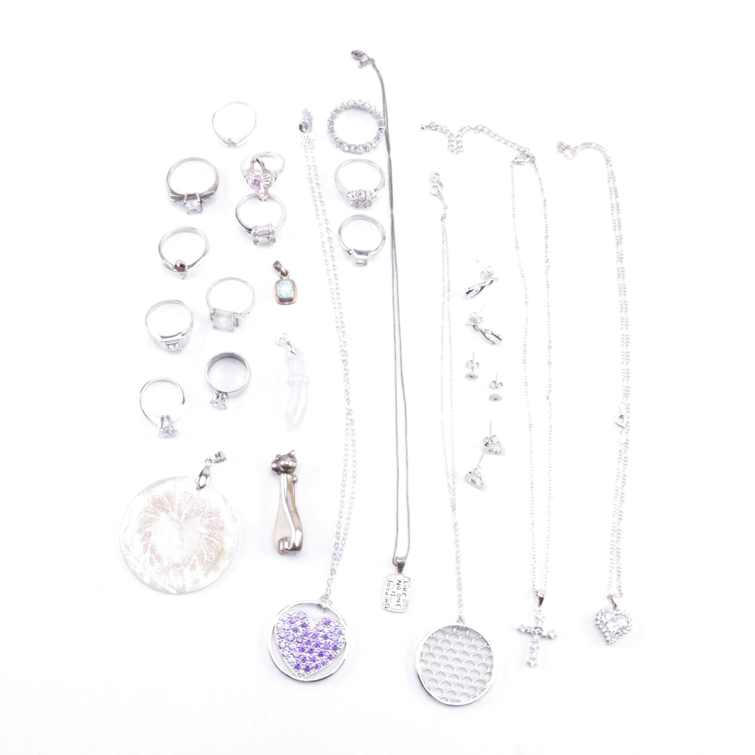 Assortment of Sterling Silver Jewelry Including Diamond