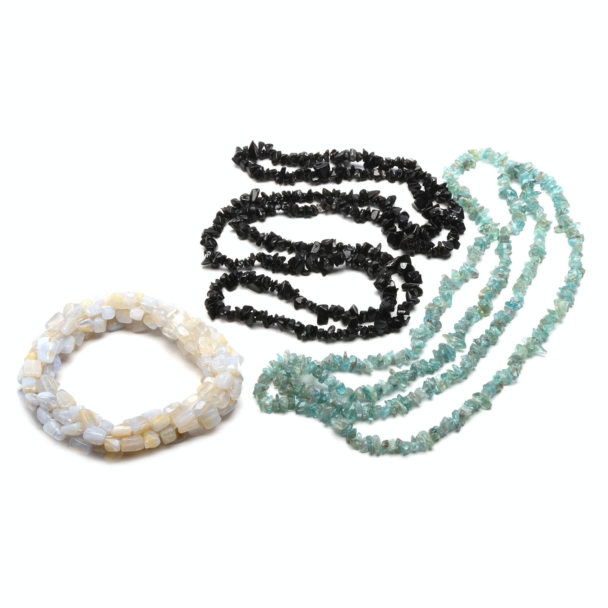Aquamarine, Black Onyx and Agate Natural Stone Jewelry