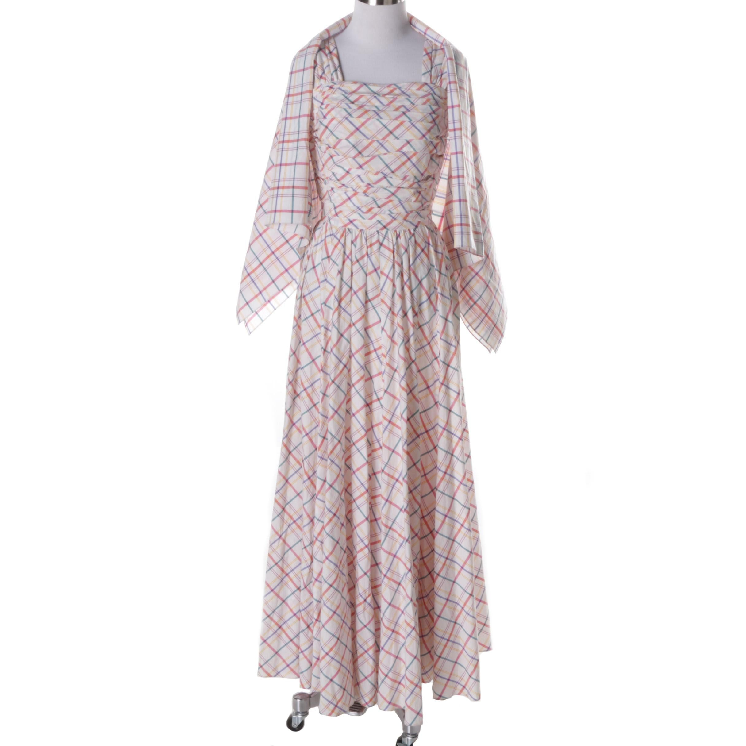 Vintage Pleated Dress and Wrap
