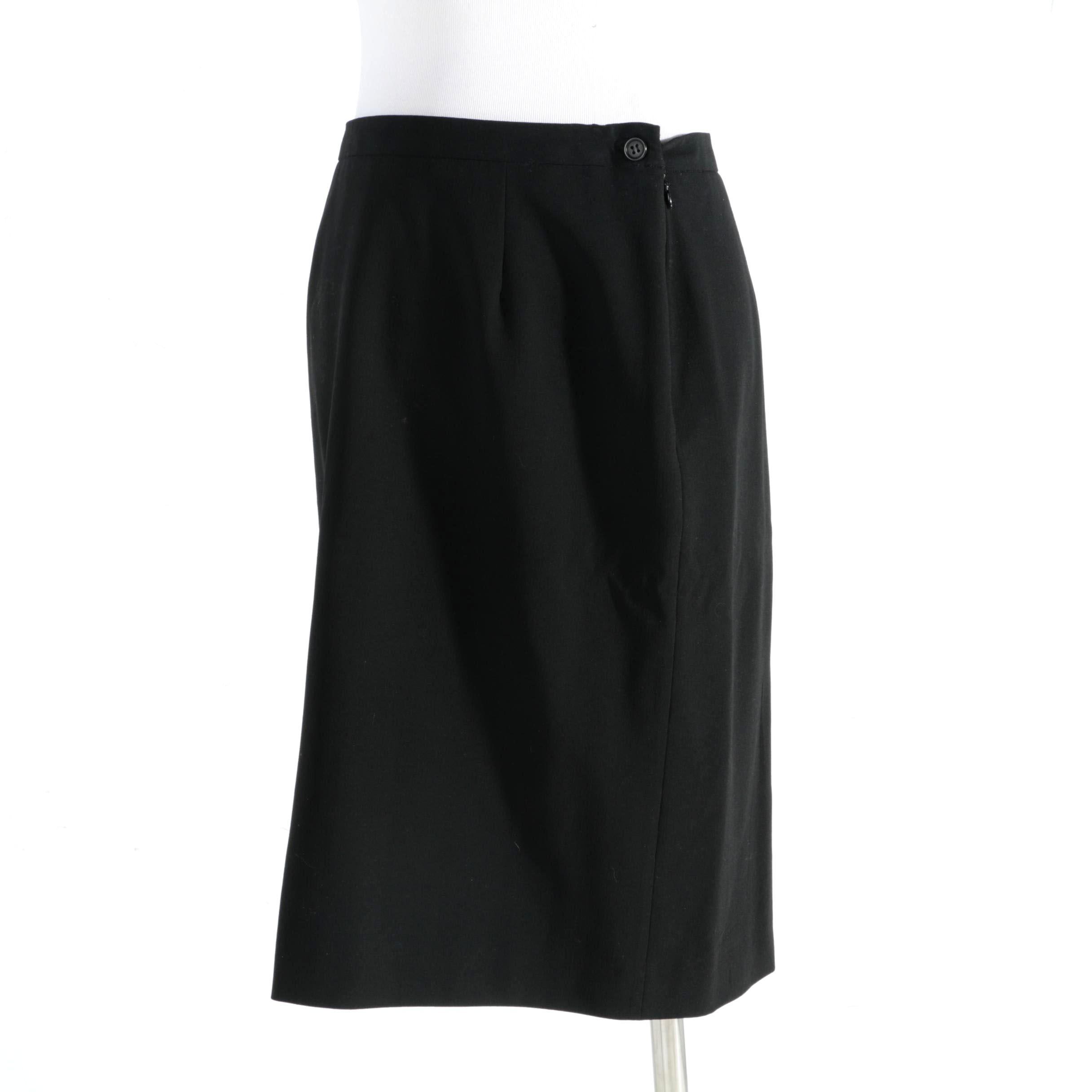 Giorgio Armani Black Wool Skirt