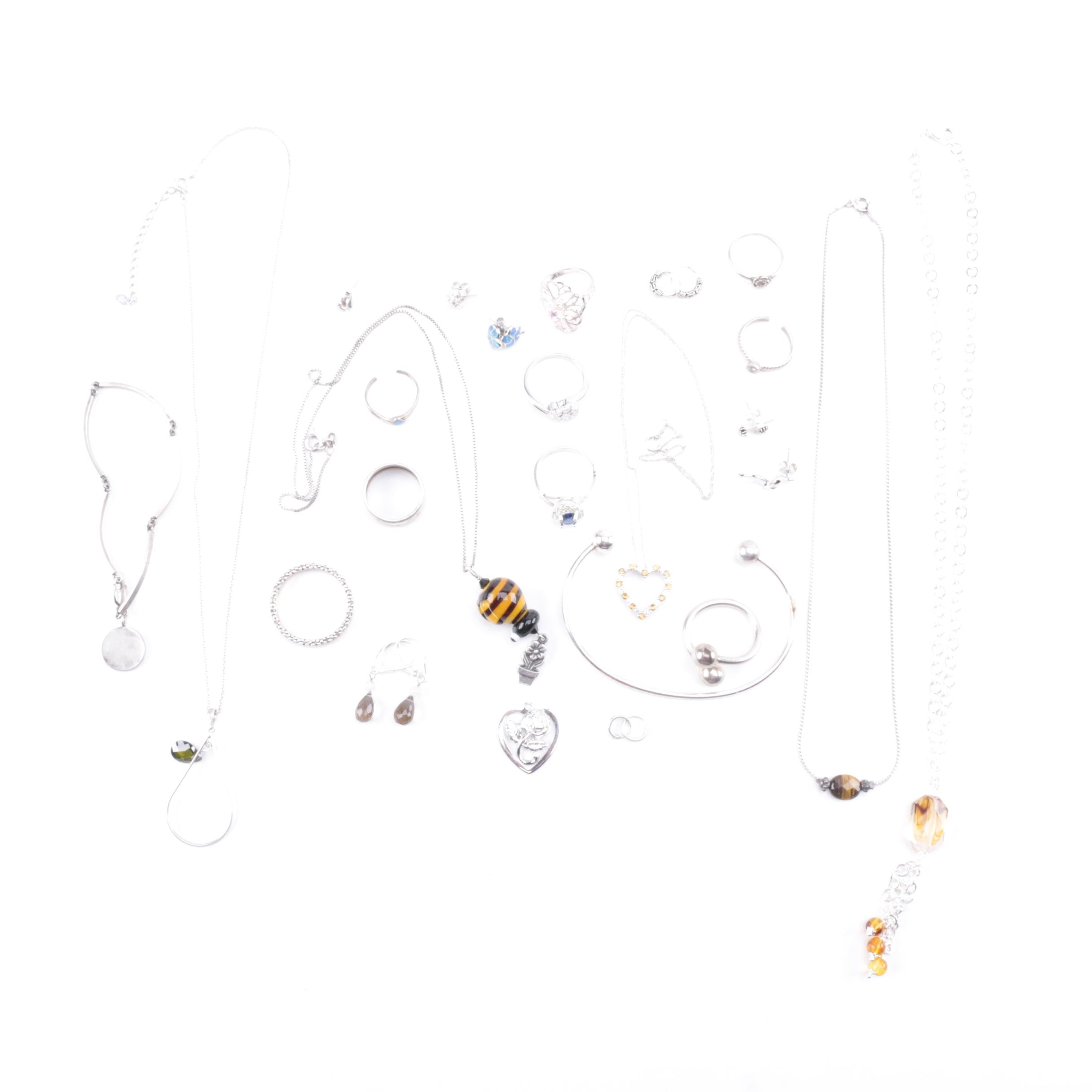 Collection of Sterling Jewelry Including Diamonds