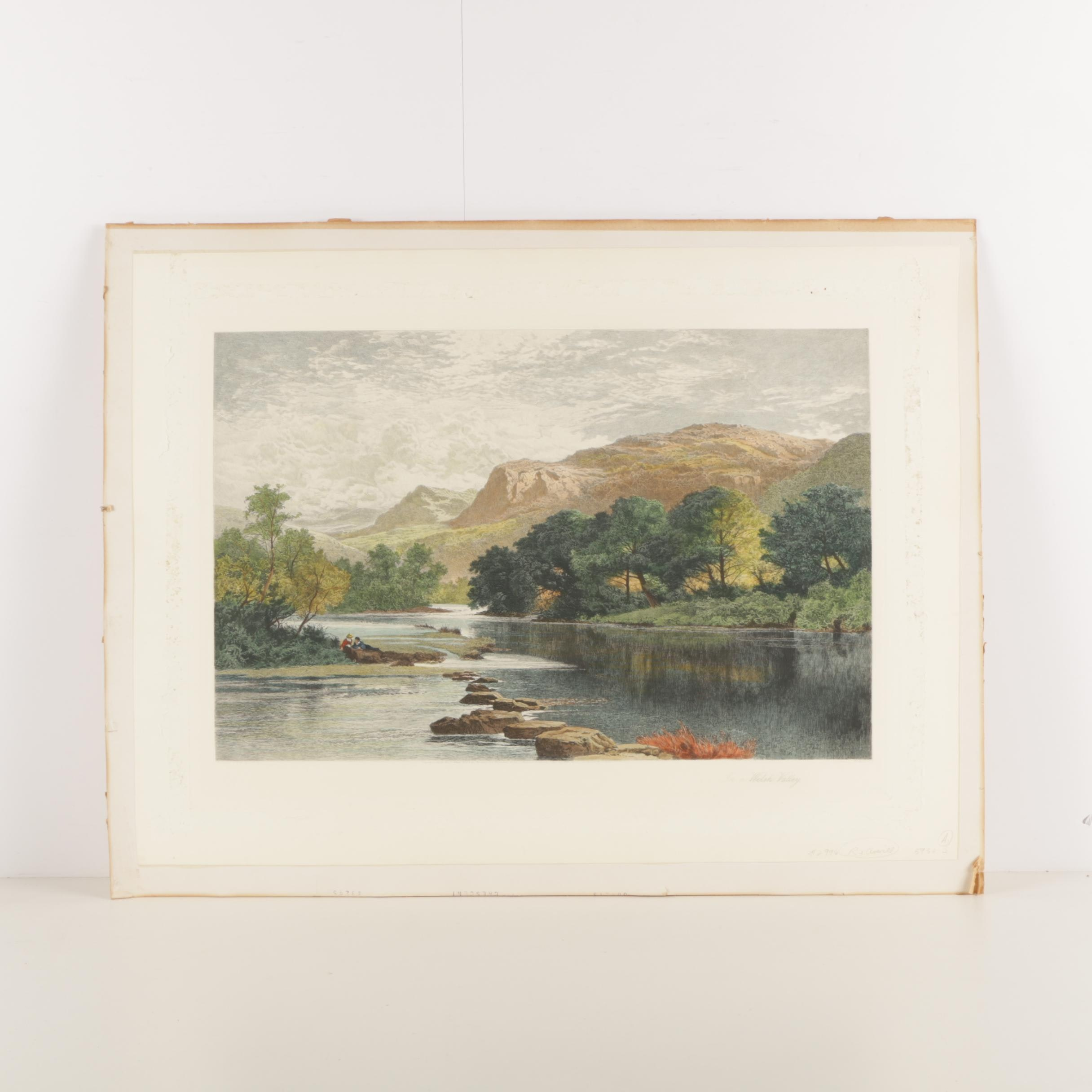 """Hand Colored Etching """"In a Welsh Valley"""""""