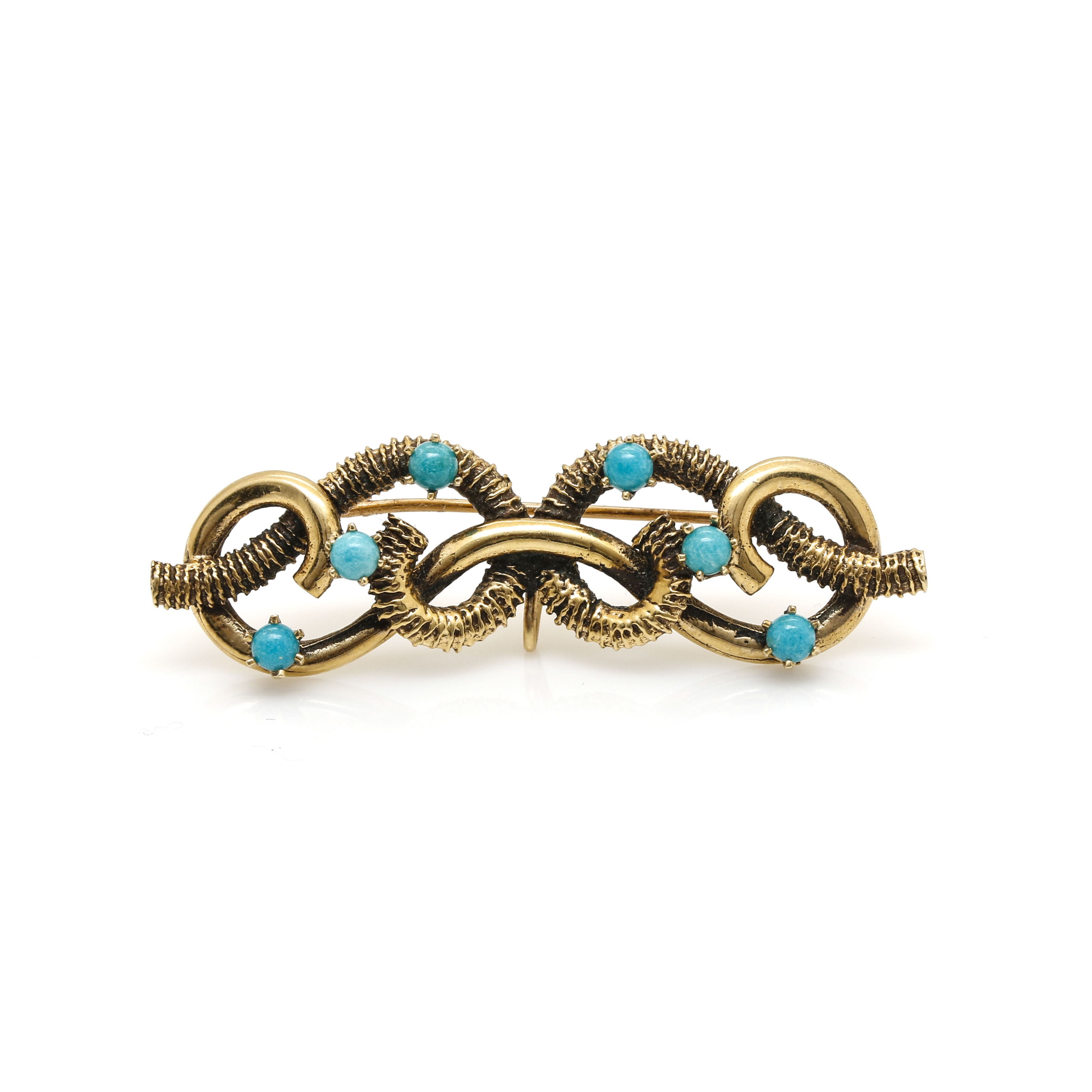 14K Yellow Gold Turquoise Brooch