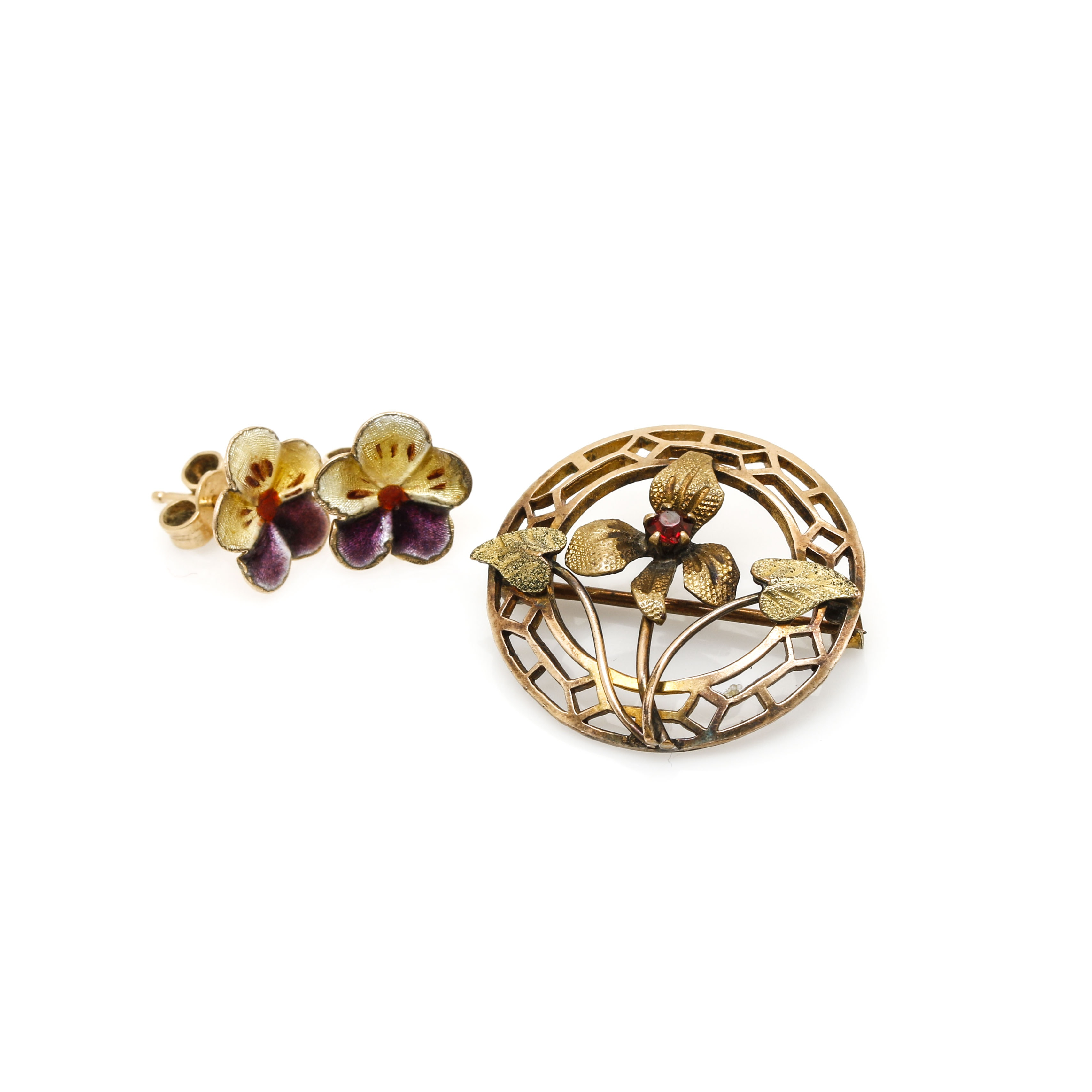 14K Yellow Gold Enamel Earrings and 10K Yellow Gold Red Glass Pin