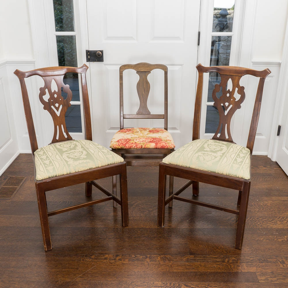 Three Vintage Colonial Style Side Chairs