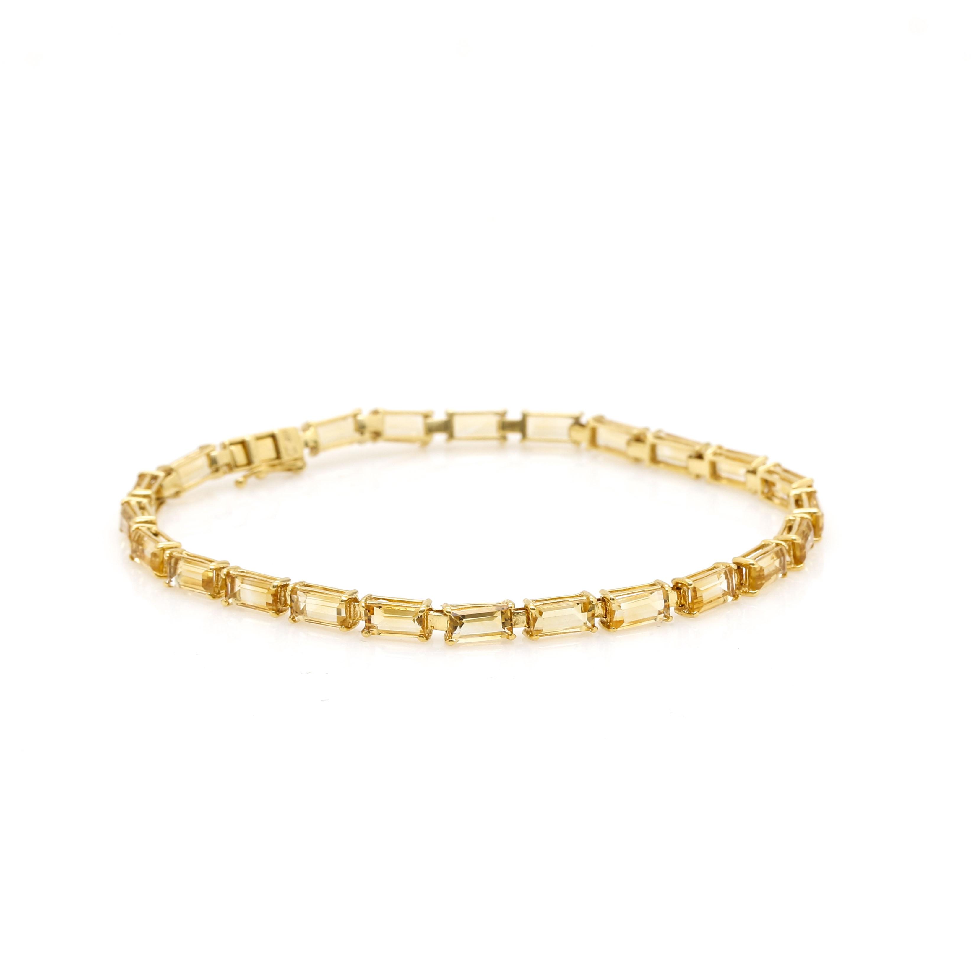14K Yellow Gold Citrine Tennis Style Bracelet