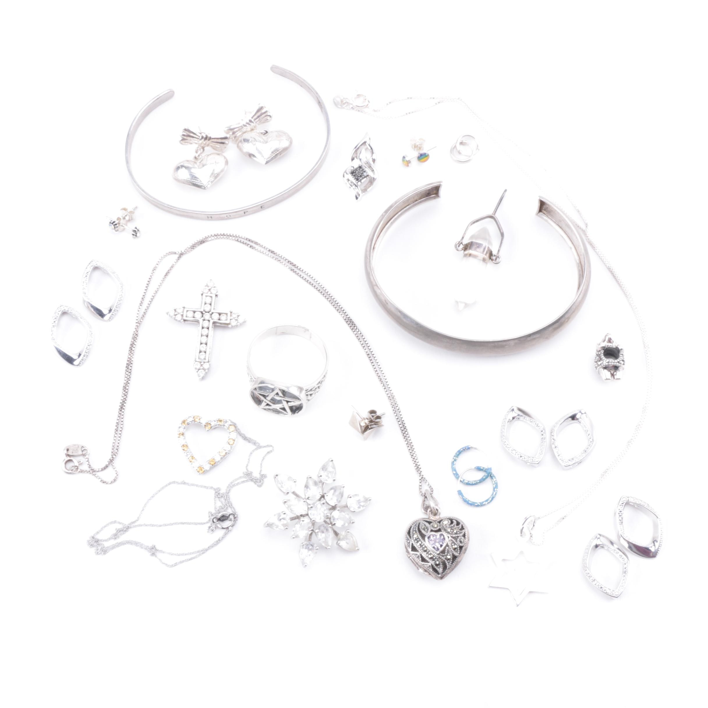 Collection of Sterling Silver Jewelry Including Quartz and More