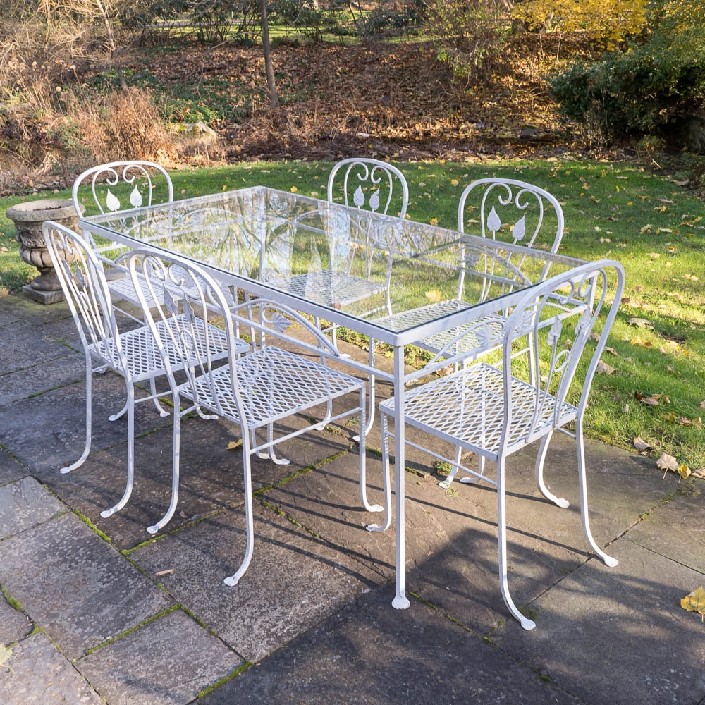 Vintage Metal and Glass Outdoor Dining Set
