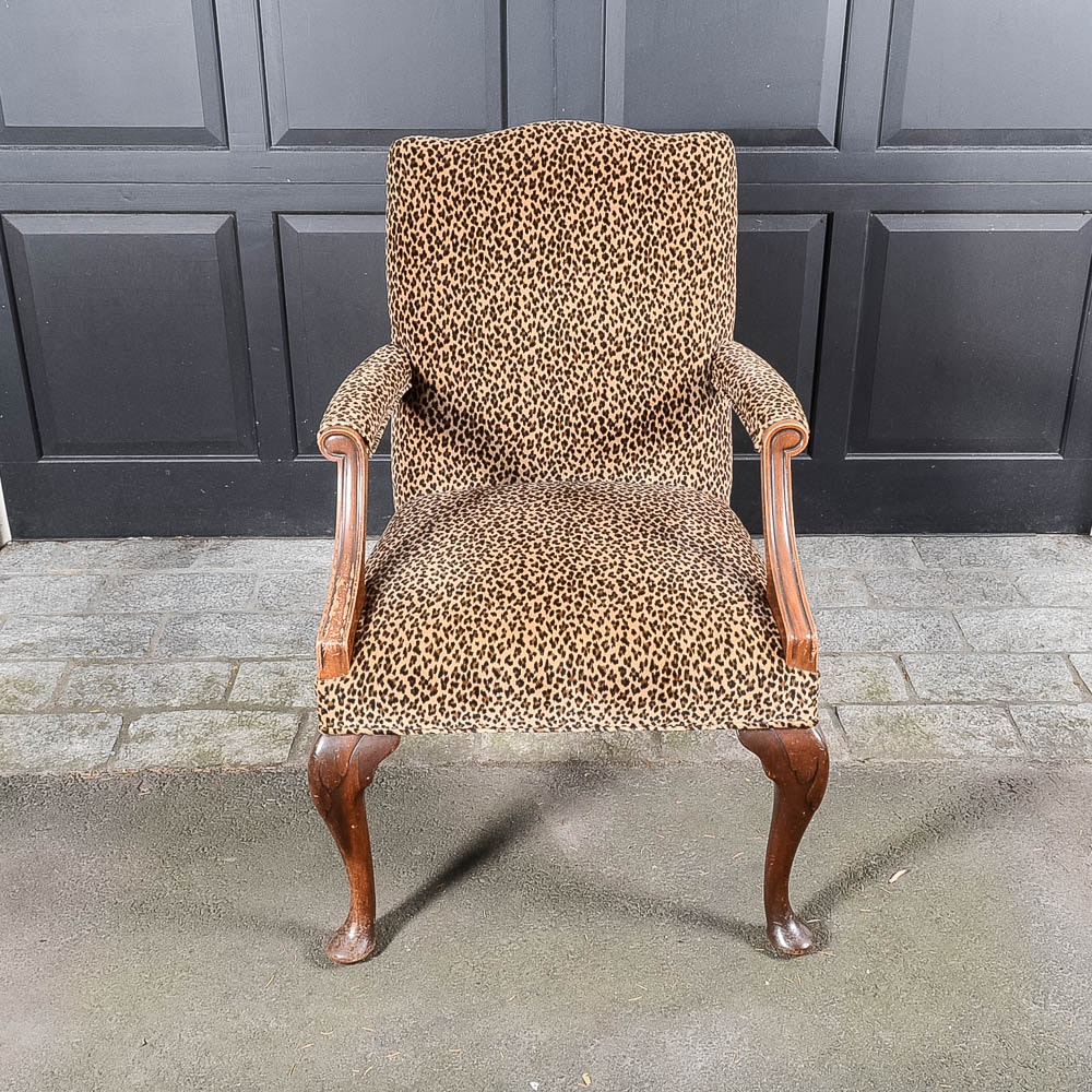 Vintage Mahogany Arm Chair With Leopard Print