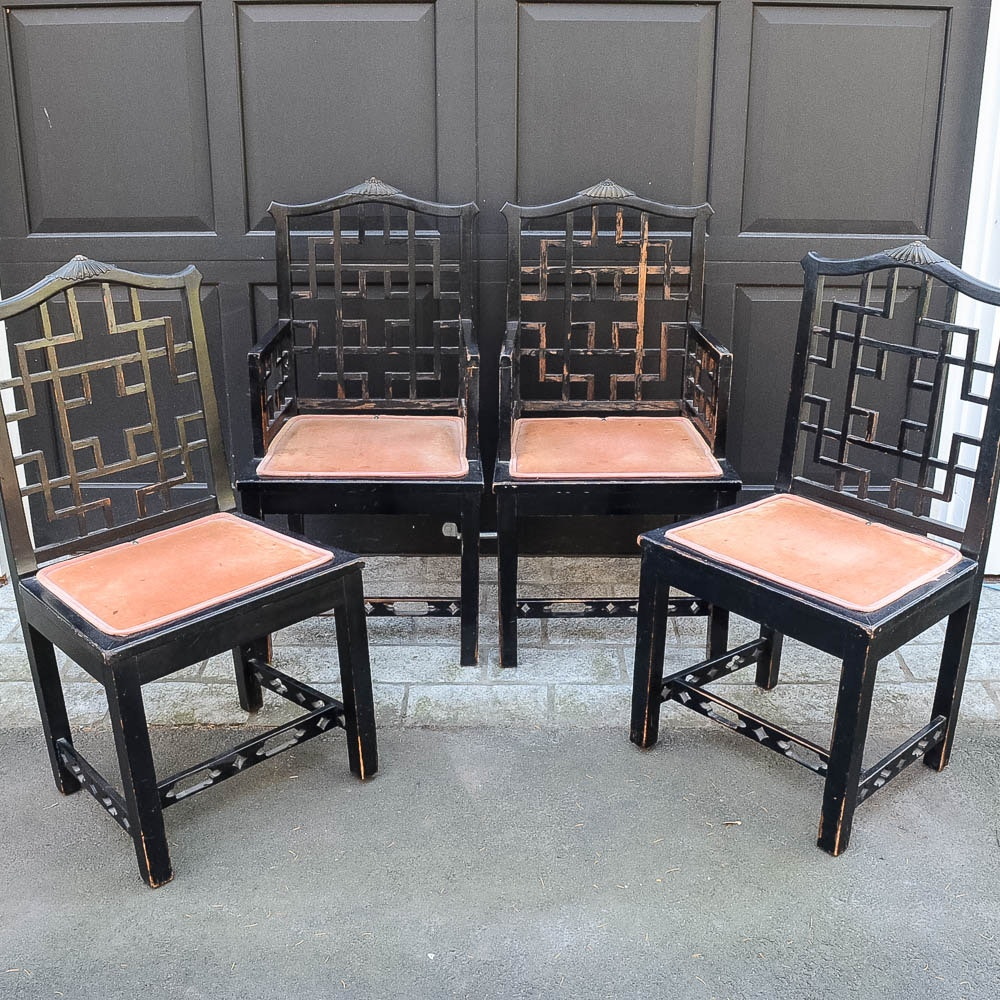 Set of Four Chinese Chippendale Style Fretwork Dining Chairs