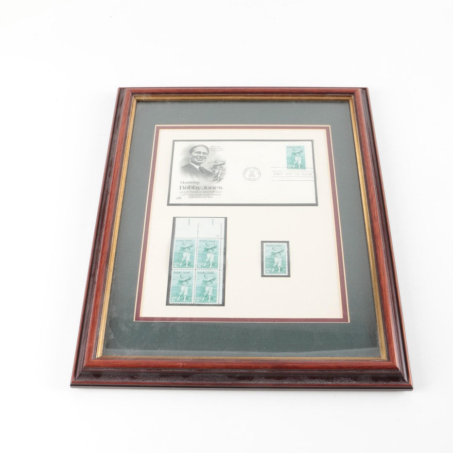 Bobby Jones First Day Cover and Stamps In Frame : EBTH