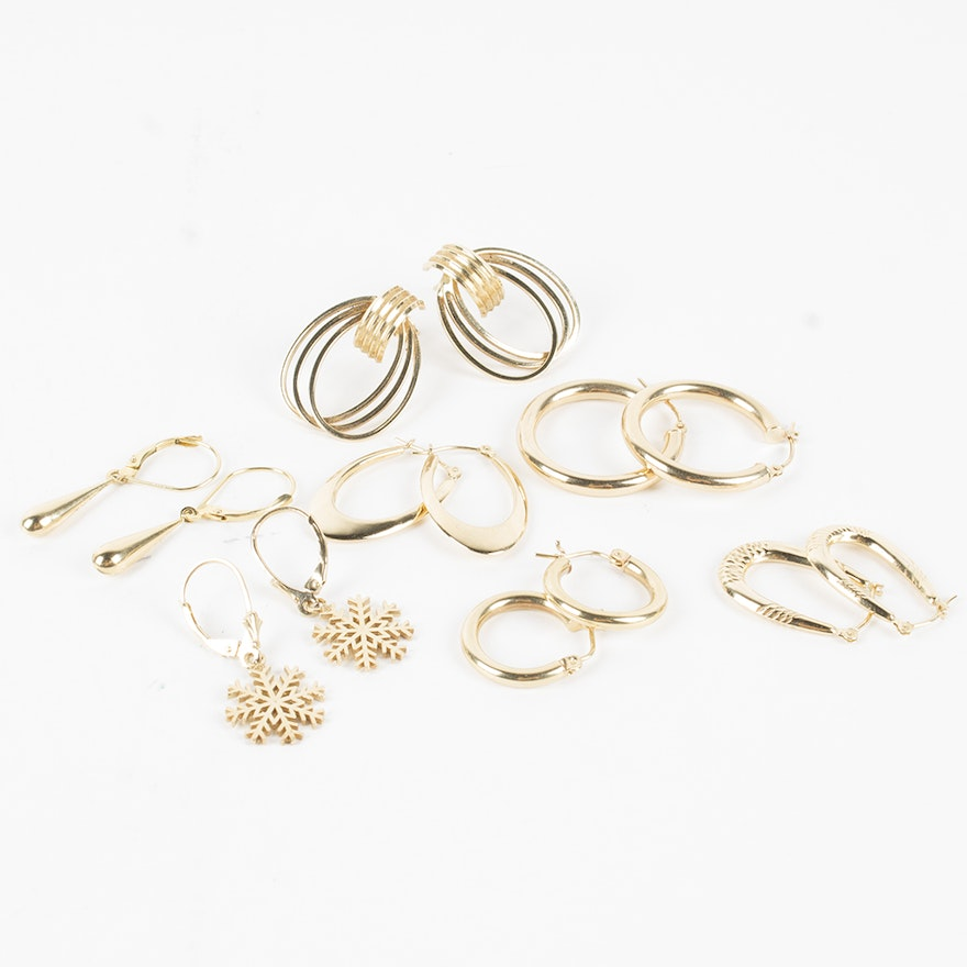 14k Yellow Gold Multiple Earring Sets