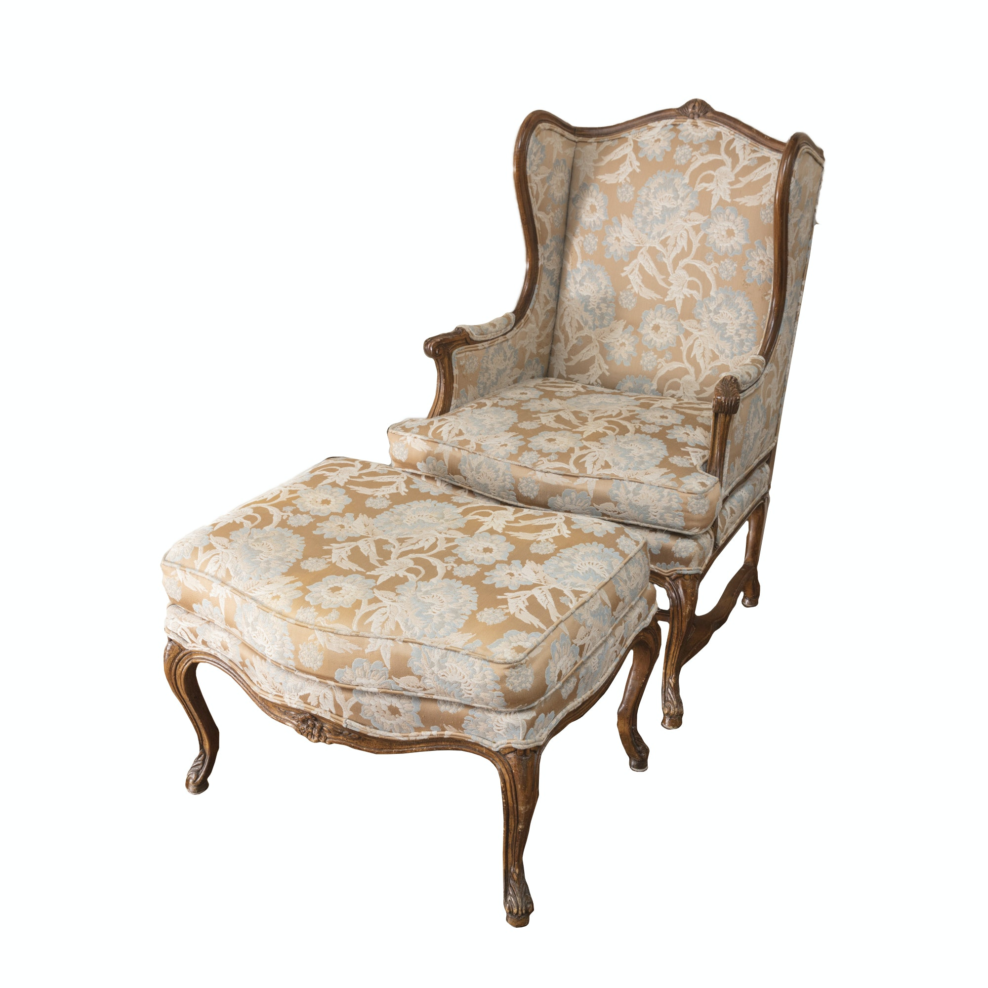 Vintage Louis XV Style Wingback Chair with Ottoman