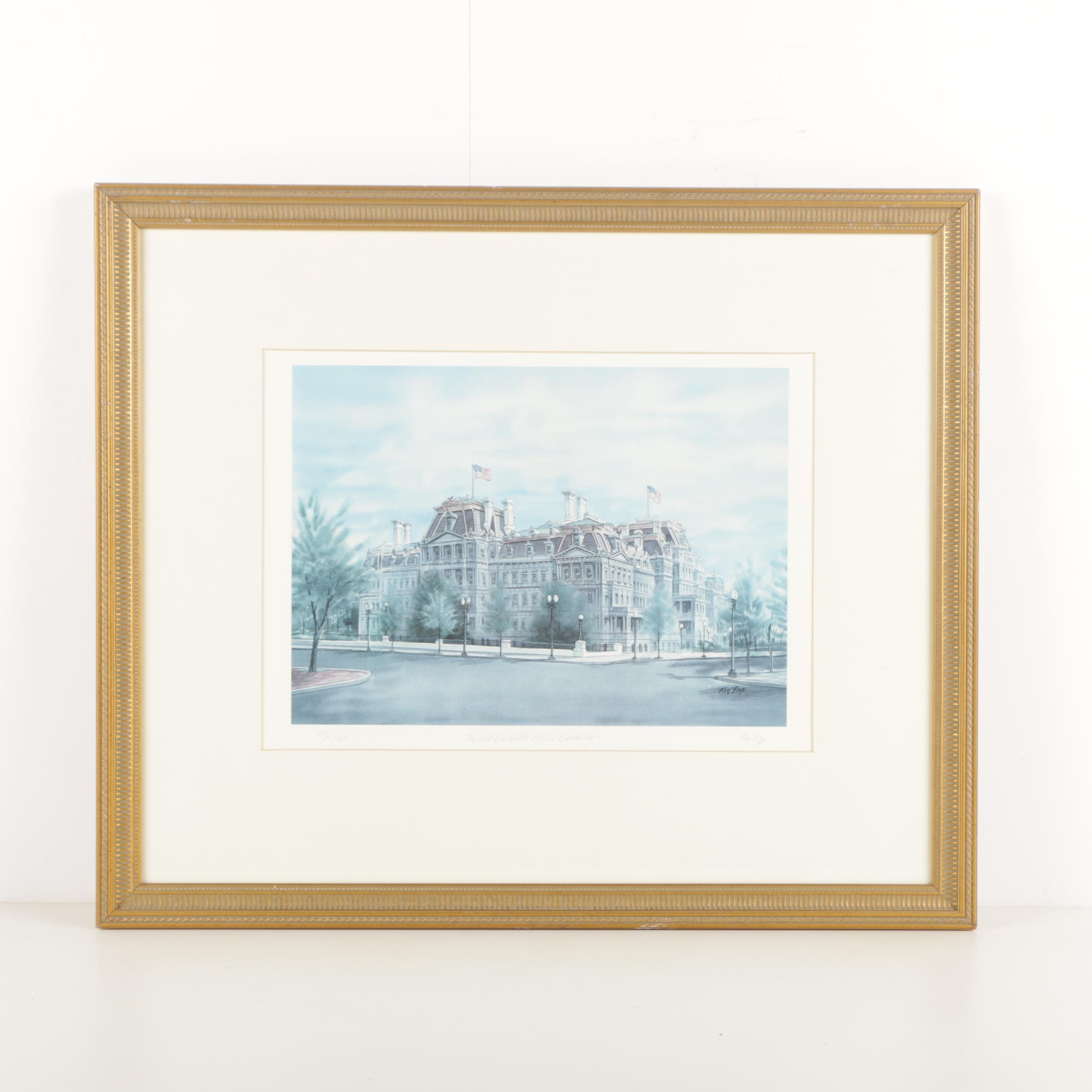 "Ken Frye Limited Edition Offset Lithograph ""The Old Executive Office Building"""