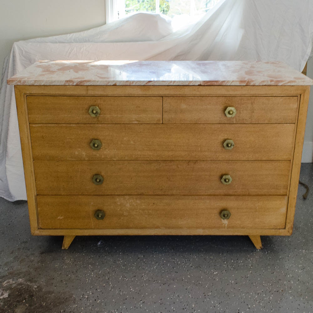 Mid Century Modern Chest of Drawers With Marble Top
