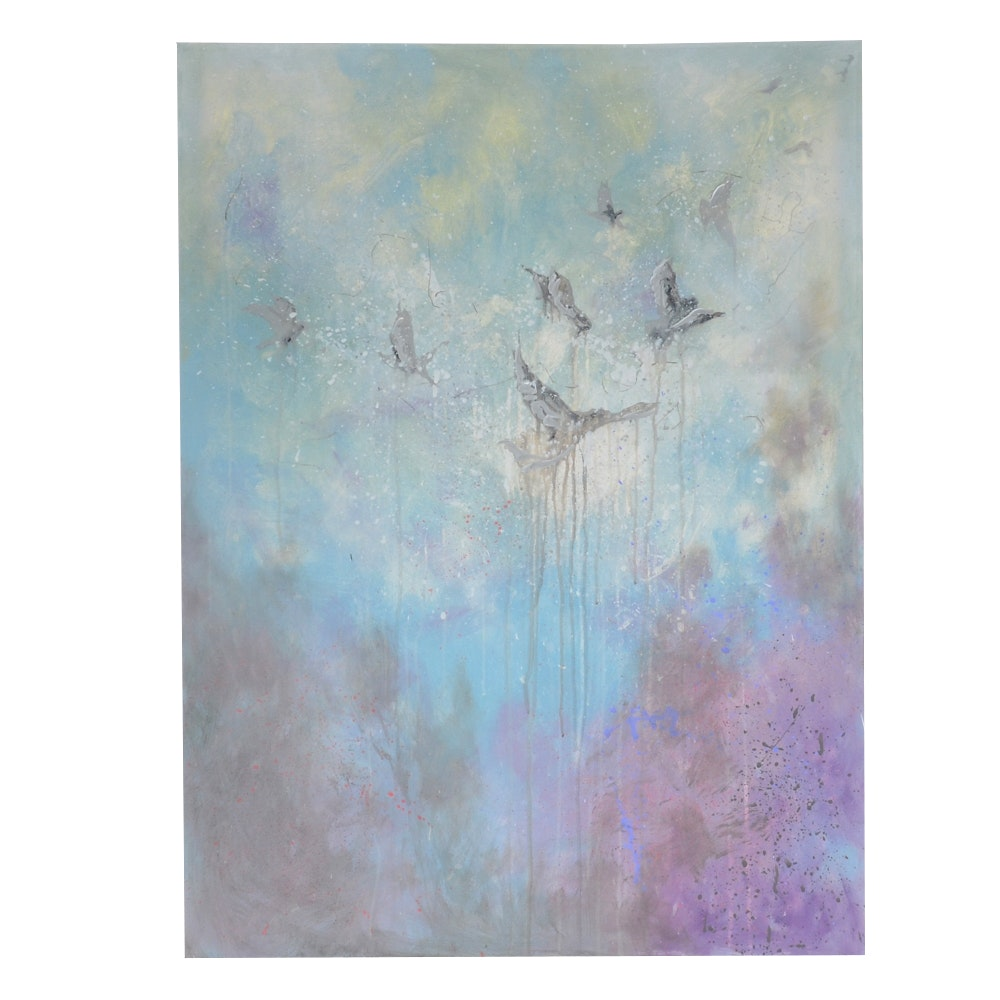 """Sarah Brown Abstract Acrylic Painting """"Ascending"""""""