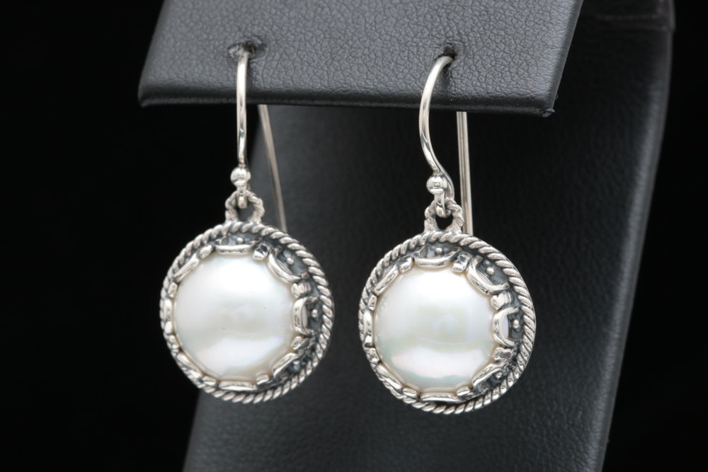 Sterling Silver and Mabé Pearl Drop Earrings