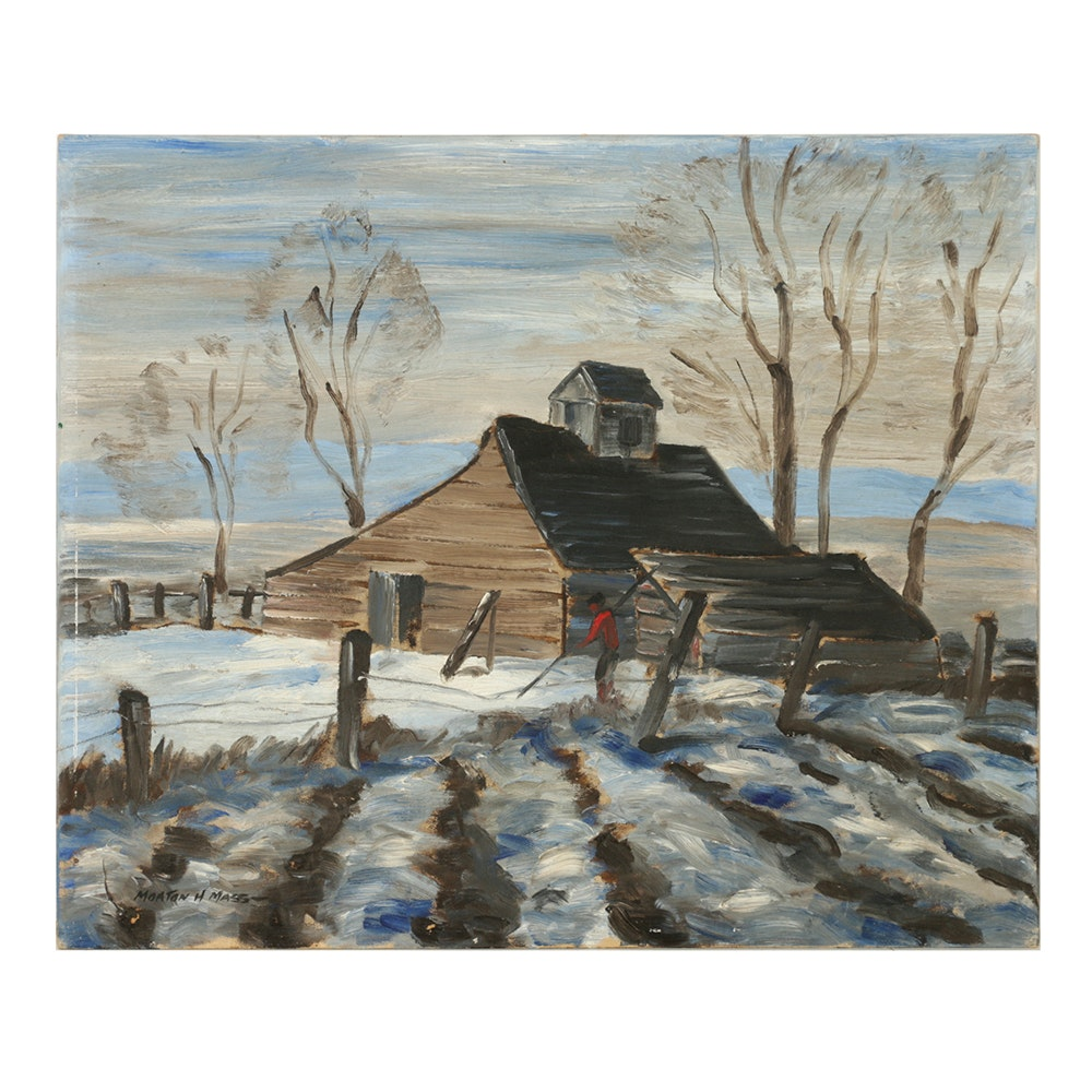Morton H. Mass Oil Painting on Canvas Board of Rural Figural Landscape