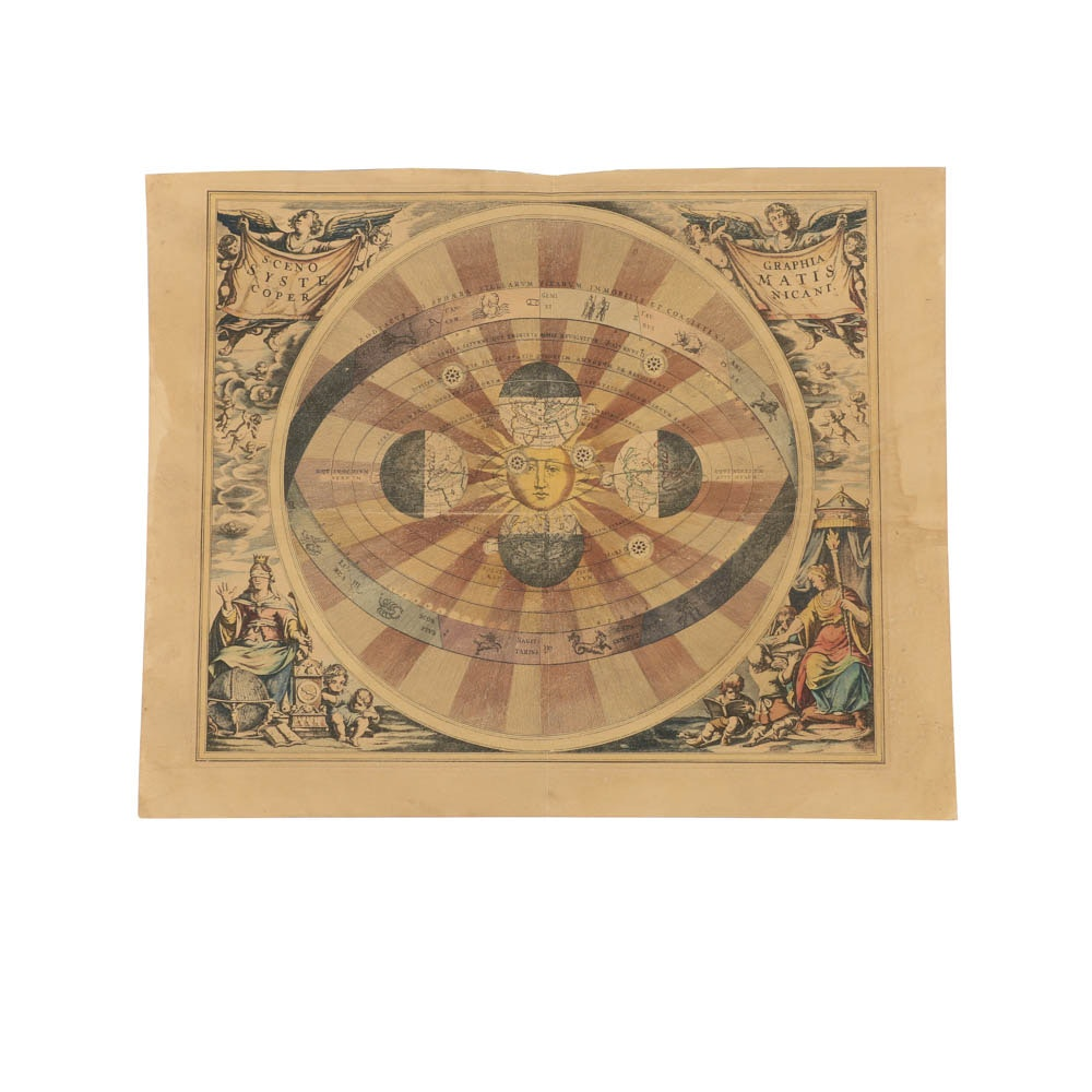 "Hand-Colored Etching on Paper ""Scenographia Systematis Copernicani"""