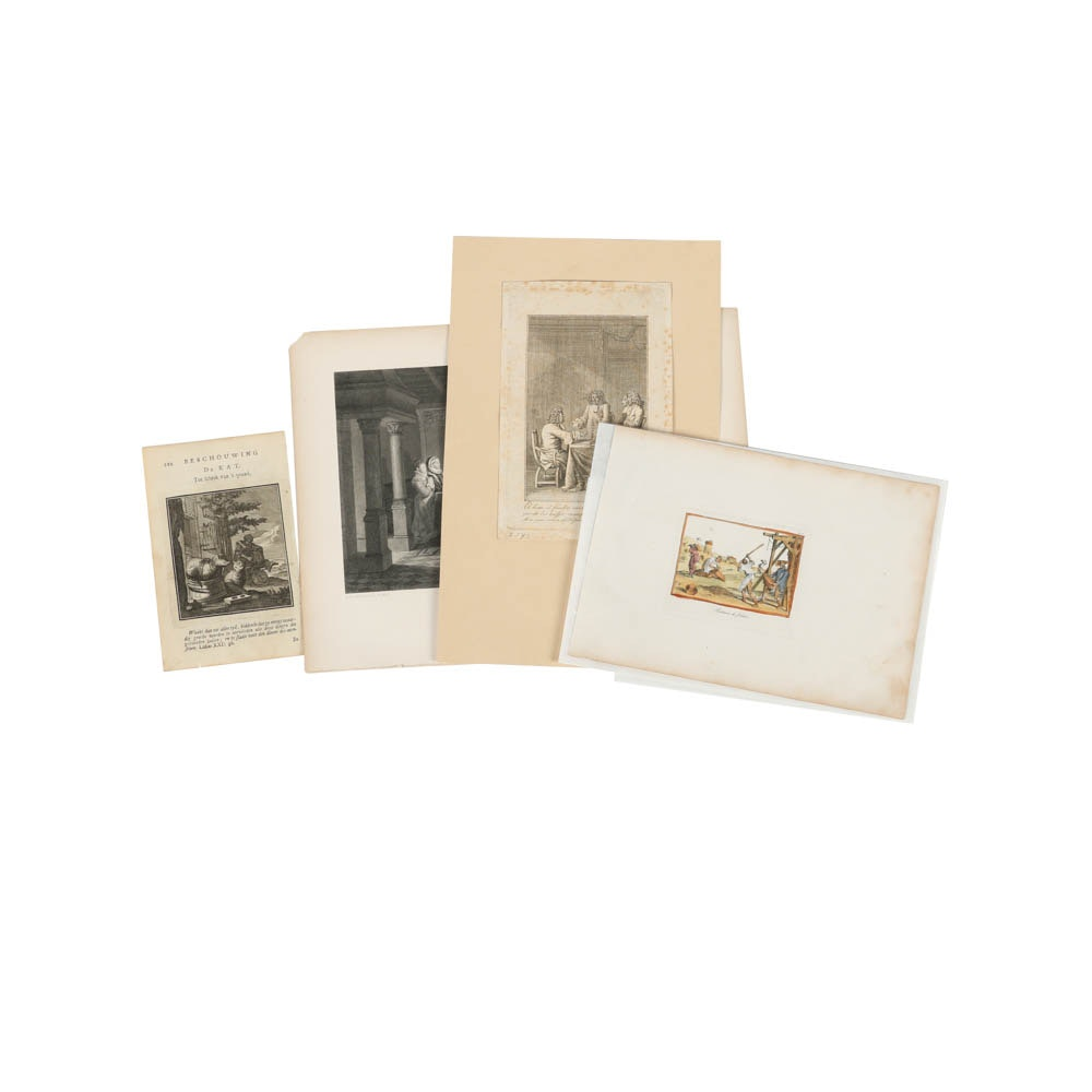 Assortment of Etchings on Paper of Figural Scenes